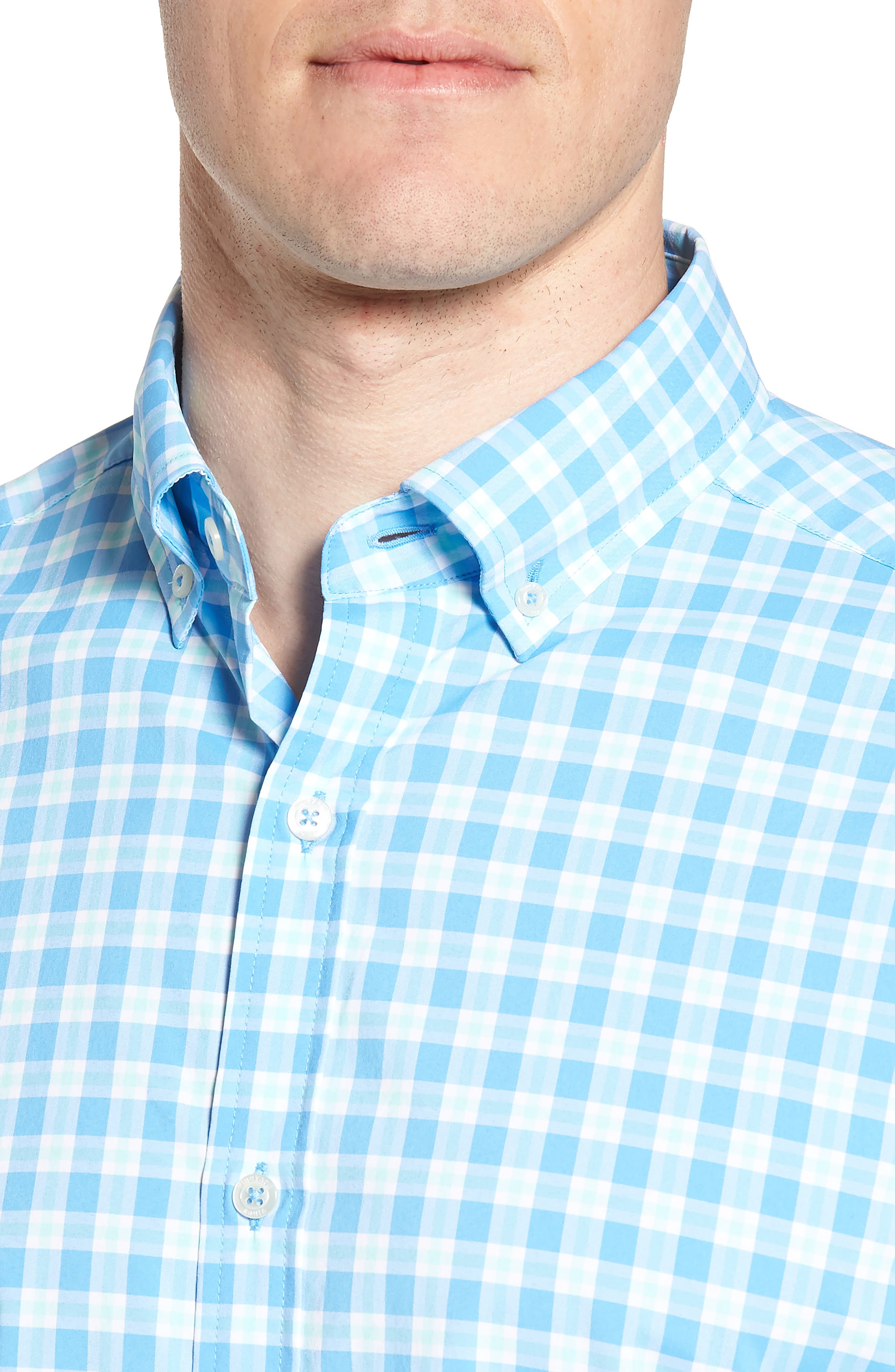 Ocean Beach Classic Fit Stretch Check Sport Shirt,                             Alternate thumbnail 4, color,                             484