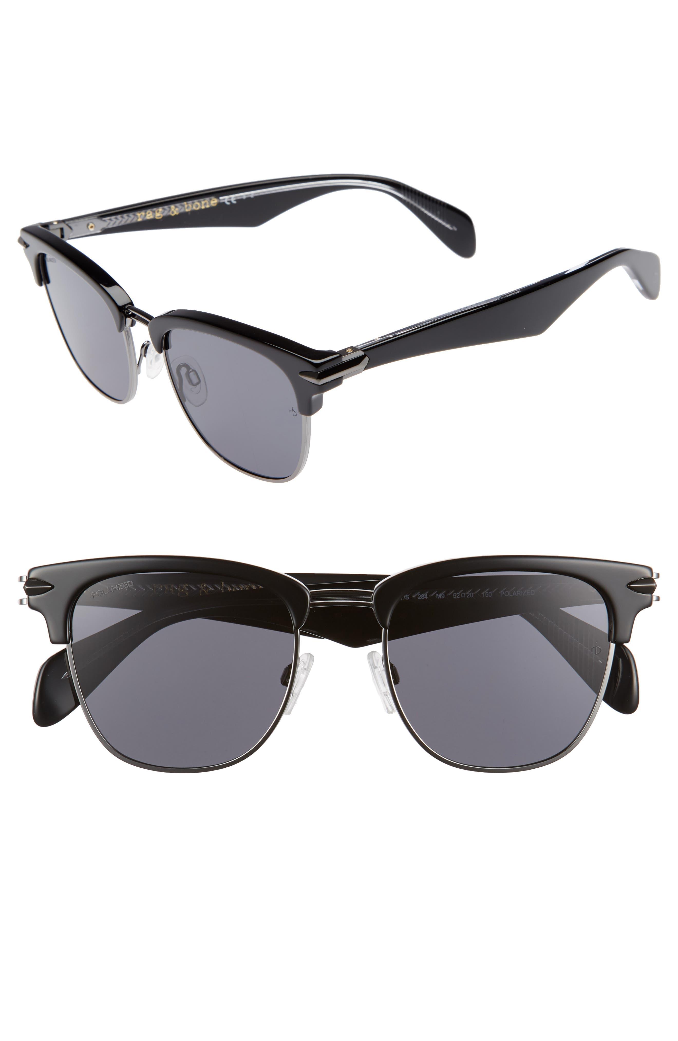 RAG & BONE 52mm Polarized Sunglasses, Main, color, BLACK RUTH/ POLAR