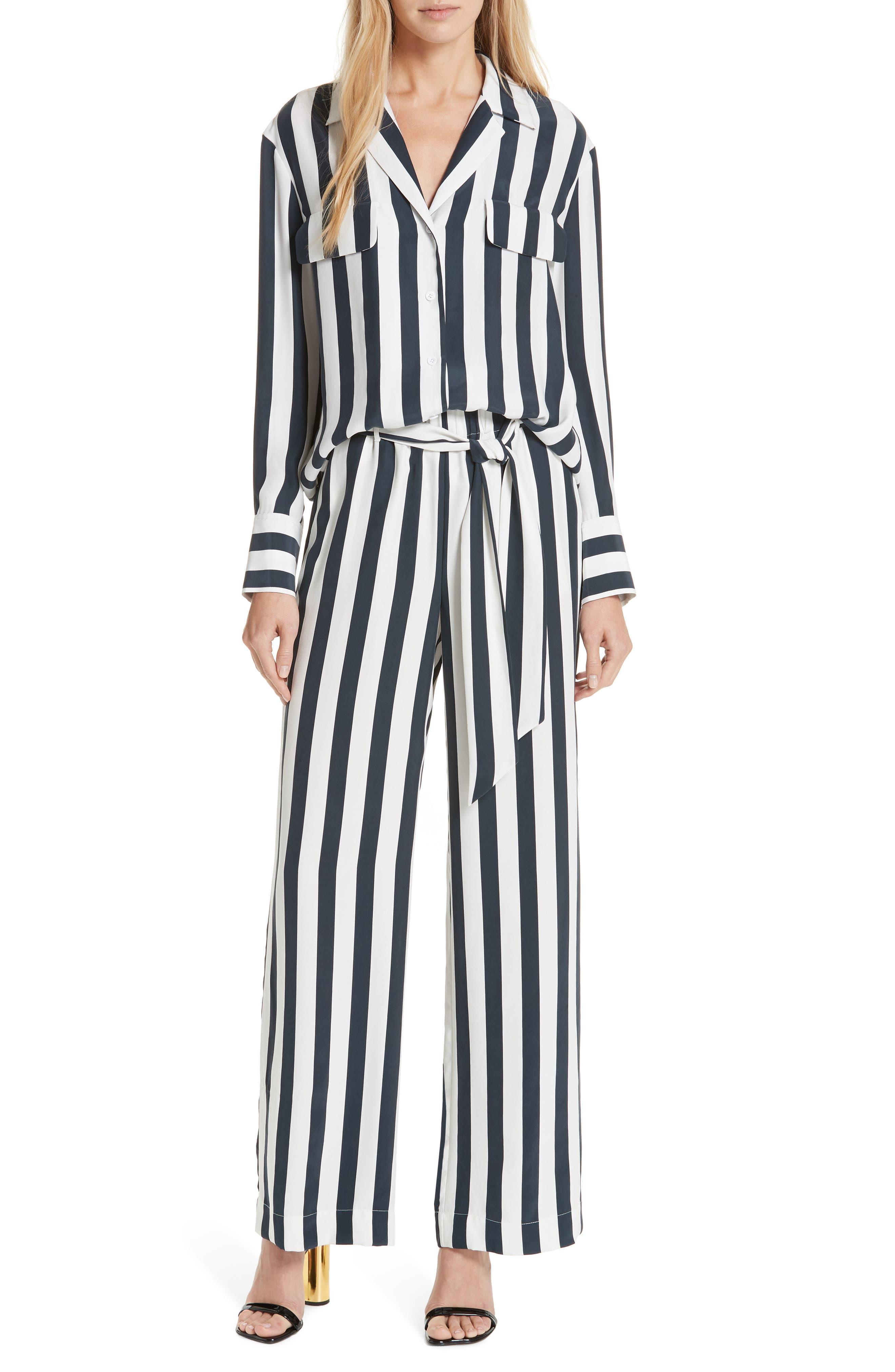 Stripe Silk Shirt,                             Alternate thumbnail 7, color,                             NAVY MULTI