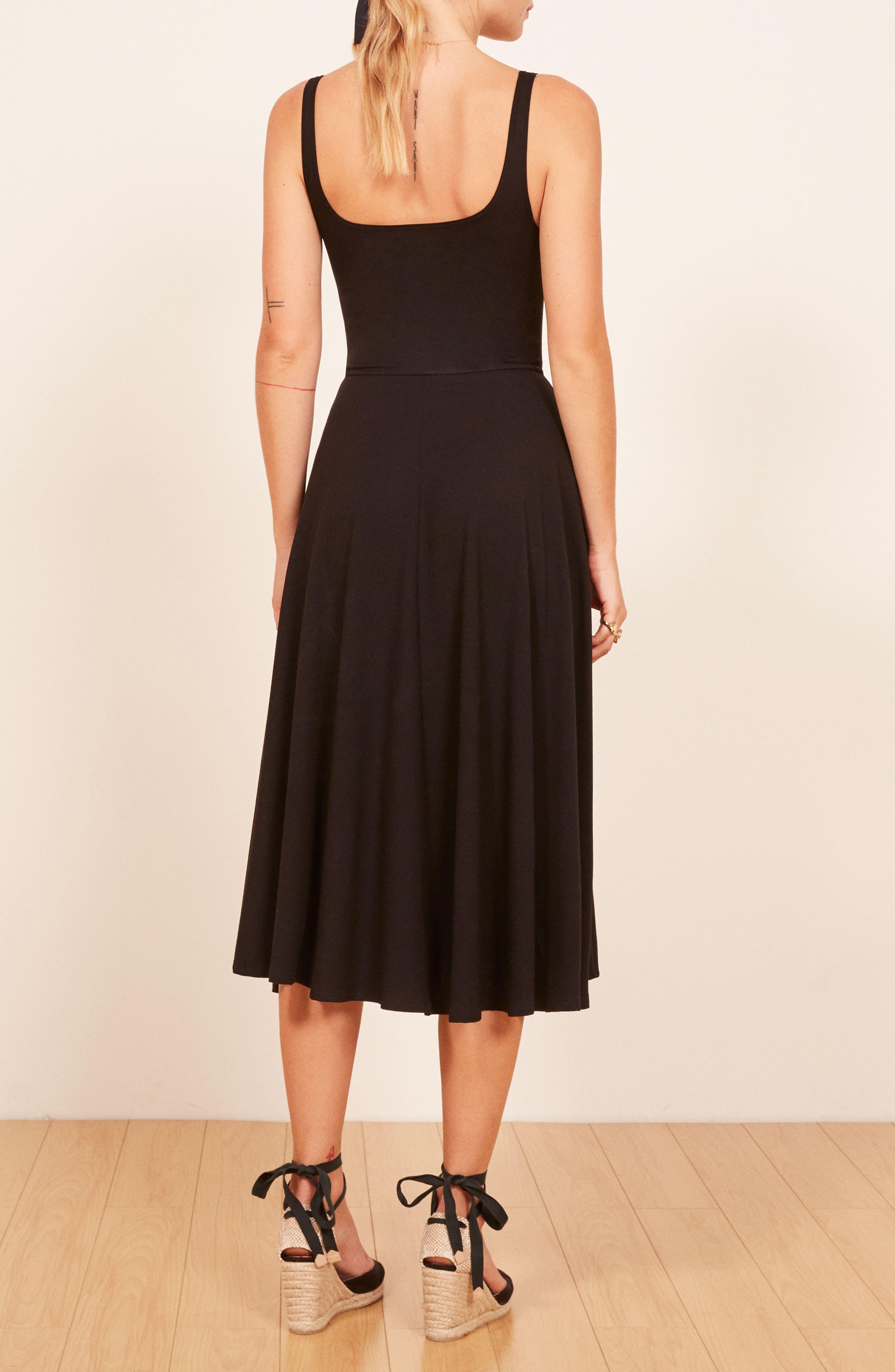 REFORMATION,                             Rou Midi Fit & Flare Dress,                             Alternate thumbnail 3, color,                             BLACK