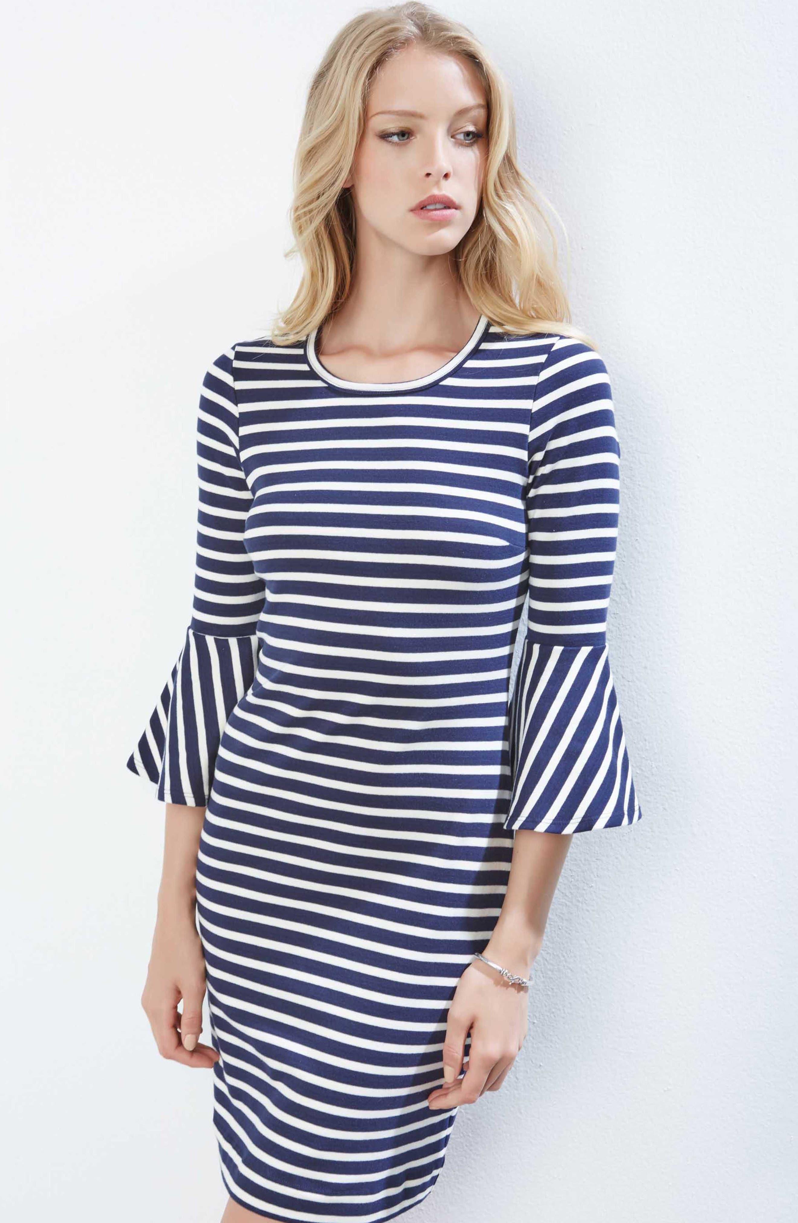 Flare Sleeve Stripe Dress,                             Alternate thumbnail 4, color,                             001