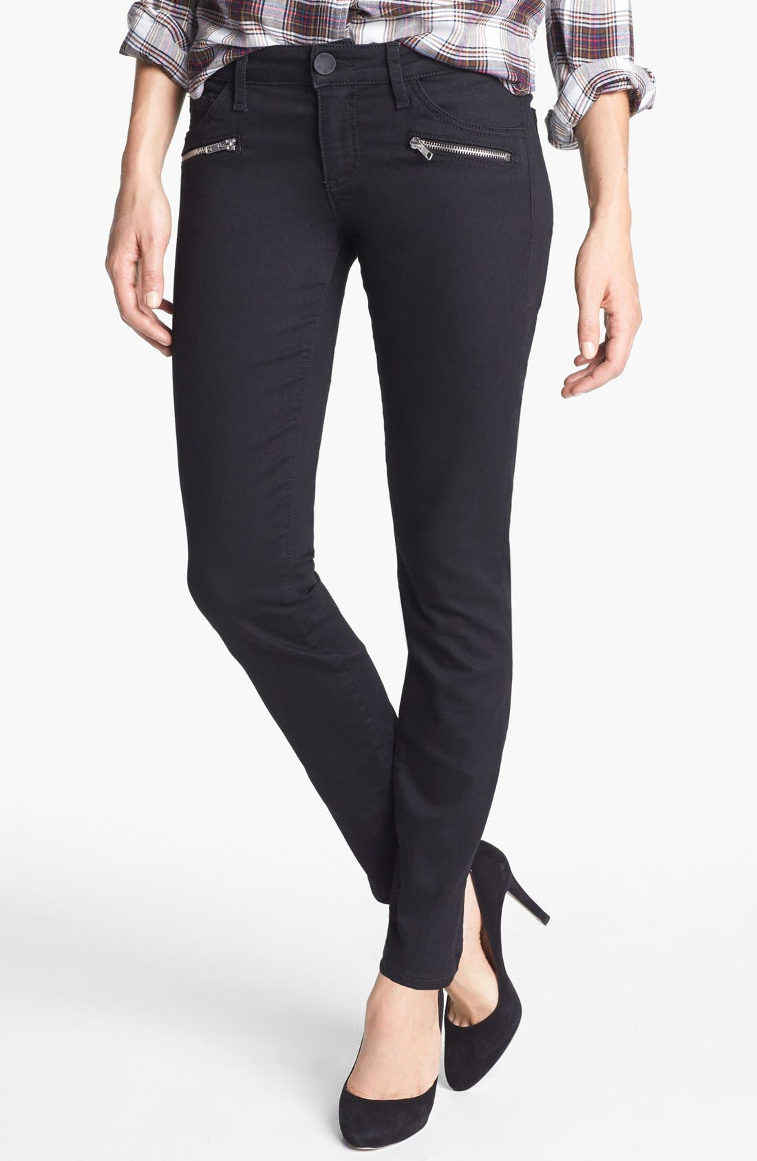 Zipper Detail Skinny Jeans, Main, color, 002