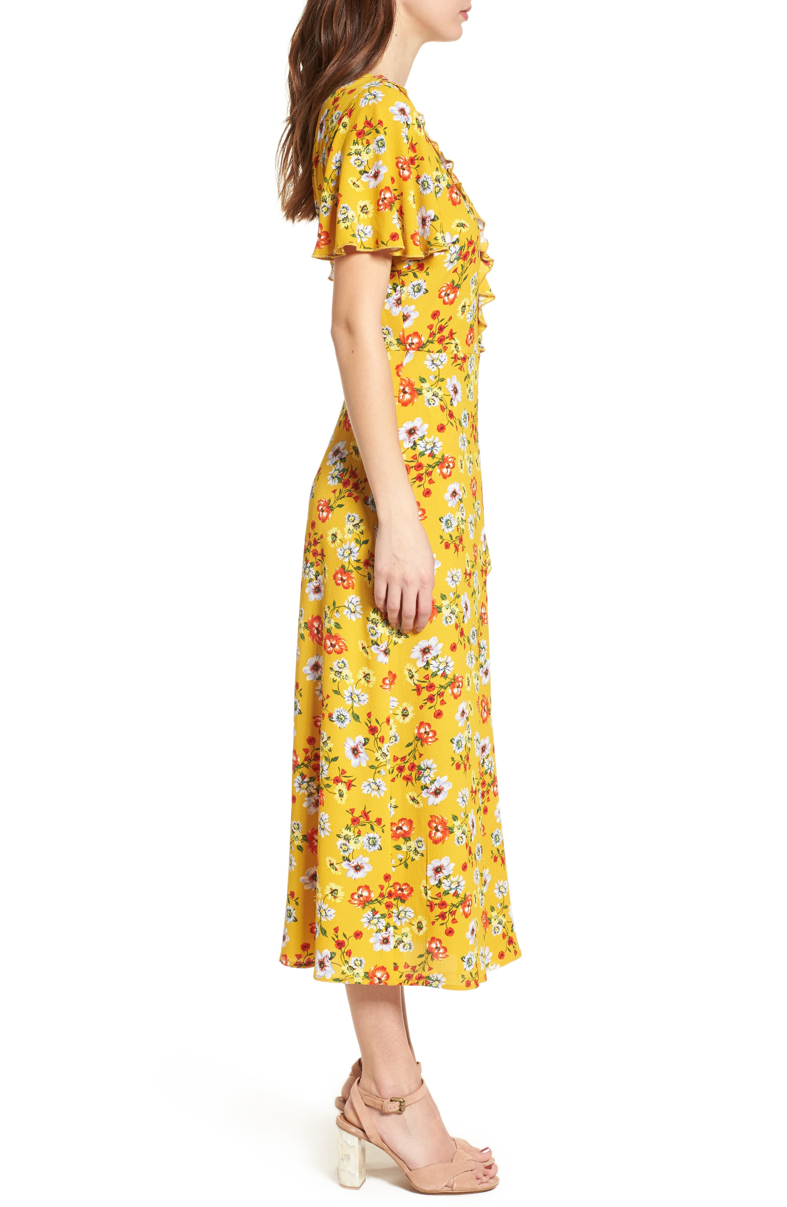 Ruffle Wrap Midi Dress,                             Alternate thumbnail 3, color,                             700