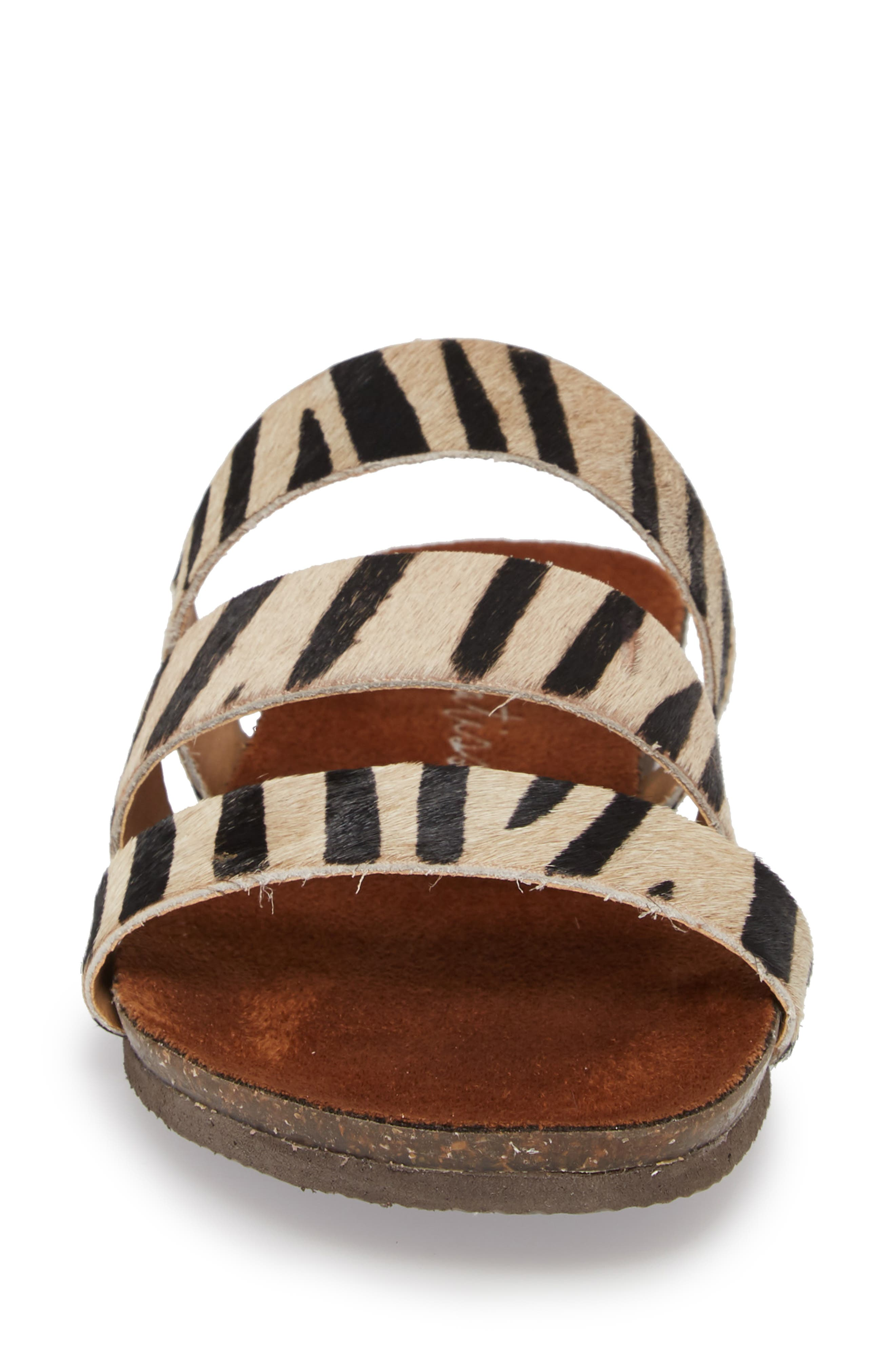 Florence Slide Sandal,                             Alternate thumbnail 4, color,                             ZEBRA CALF HAIR