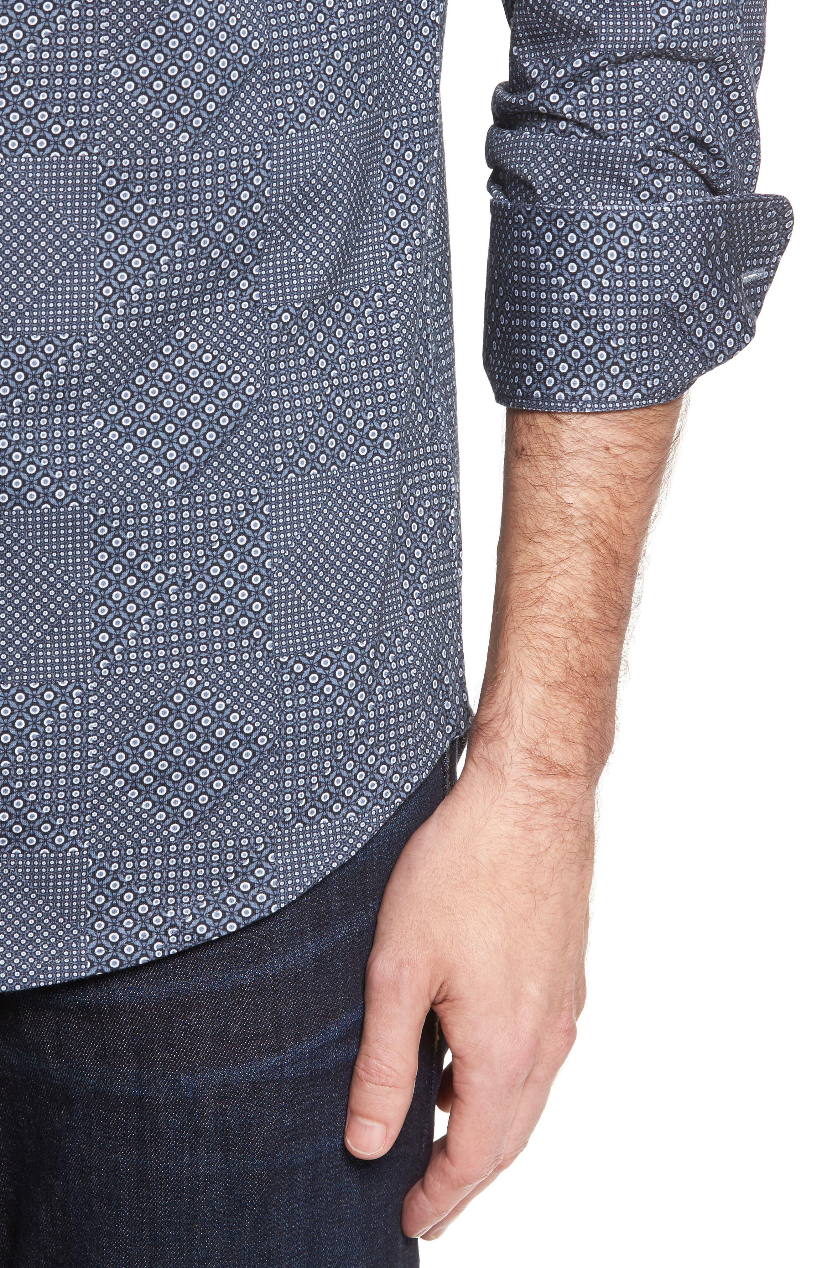 Slim Fit Patchwork Print Knit Sport Shirt,                             Alternate thumbnail 4, color,                             001