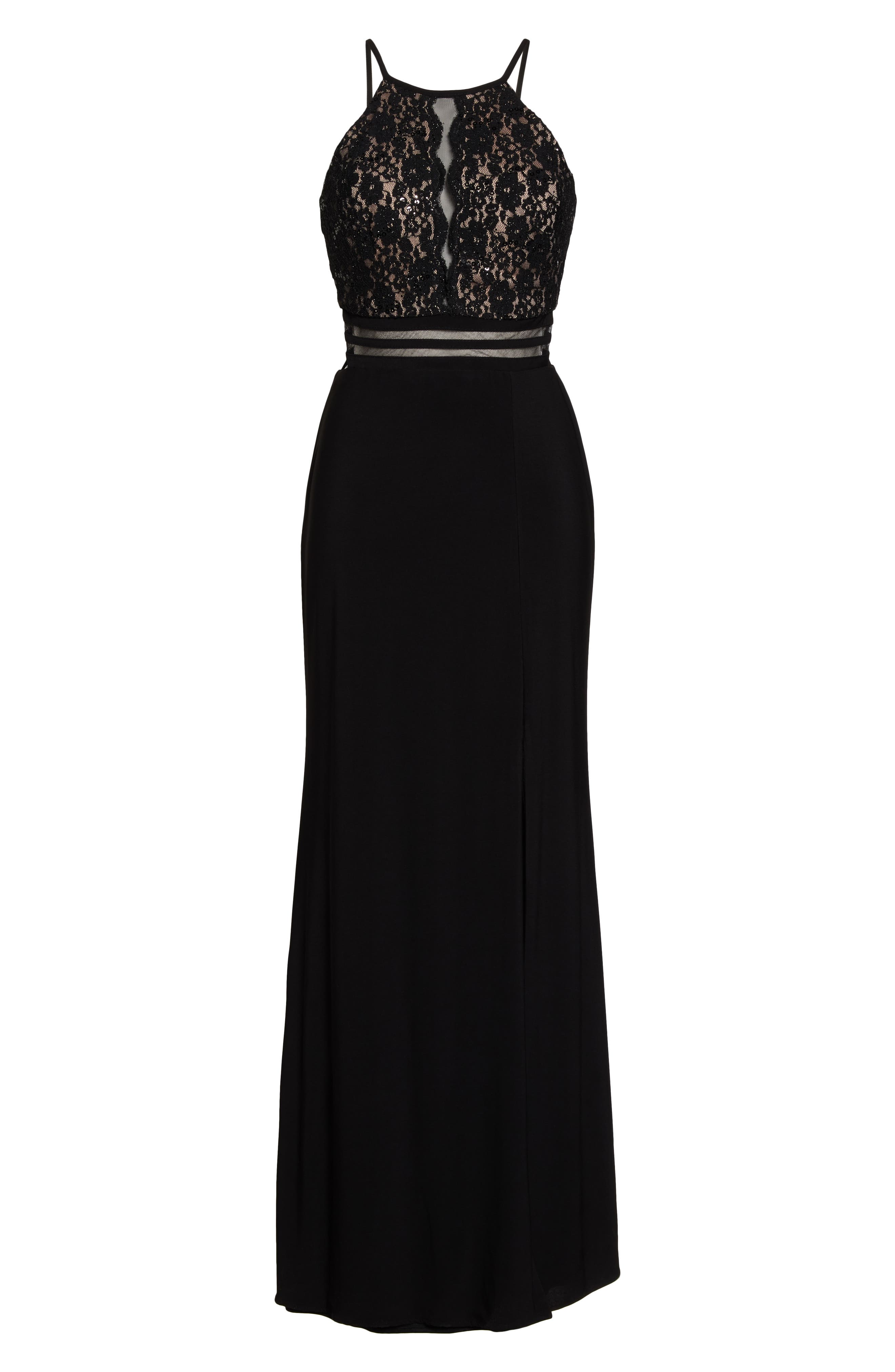 MORGAN & CO.,                             Strappy Lace Bodice Gown,                             Alternate thumbnail 3, color,                             BLACK/ NUDE