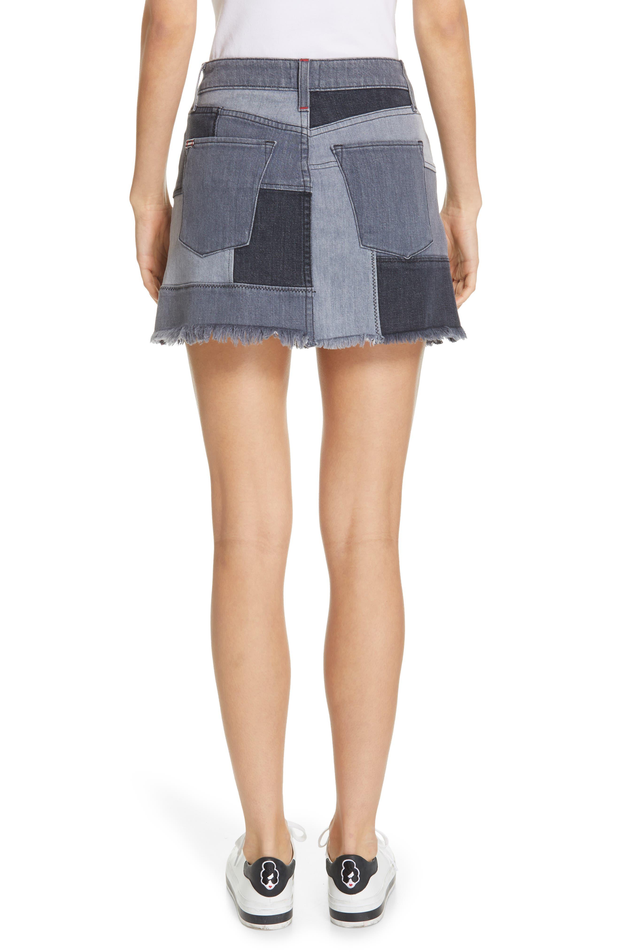 ALICE + OLIVIA JEANS,                             Amazing Patchwork Denim Miniskirt,                             Alternate thumbnail 2, color,                             NIGHT SKY