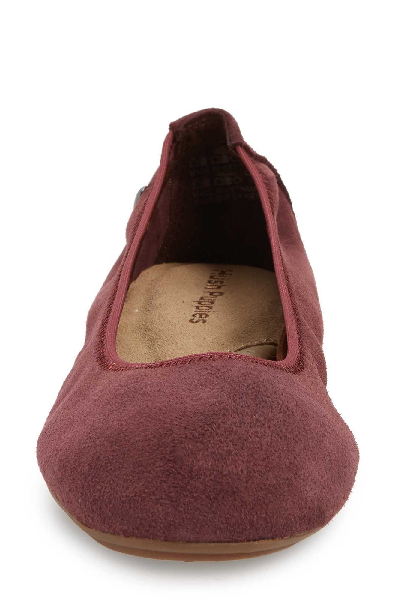 'Chaste' Ballet Flat,                             Alternate thumbnail 4, color,                             DARK WINE SUEDE
