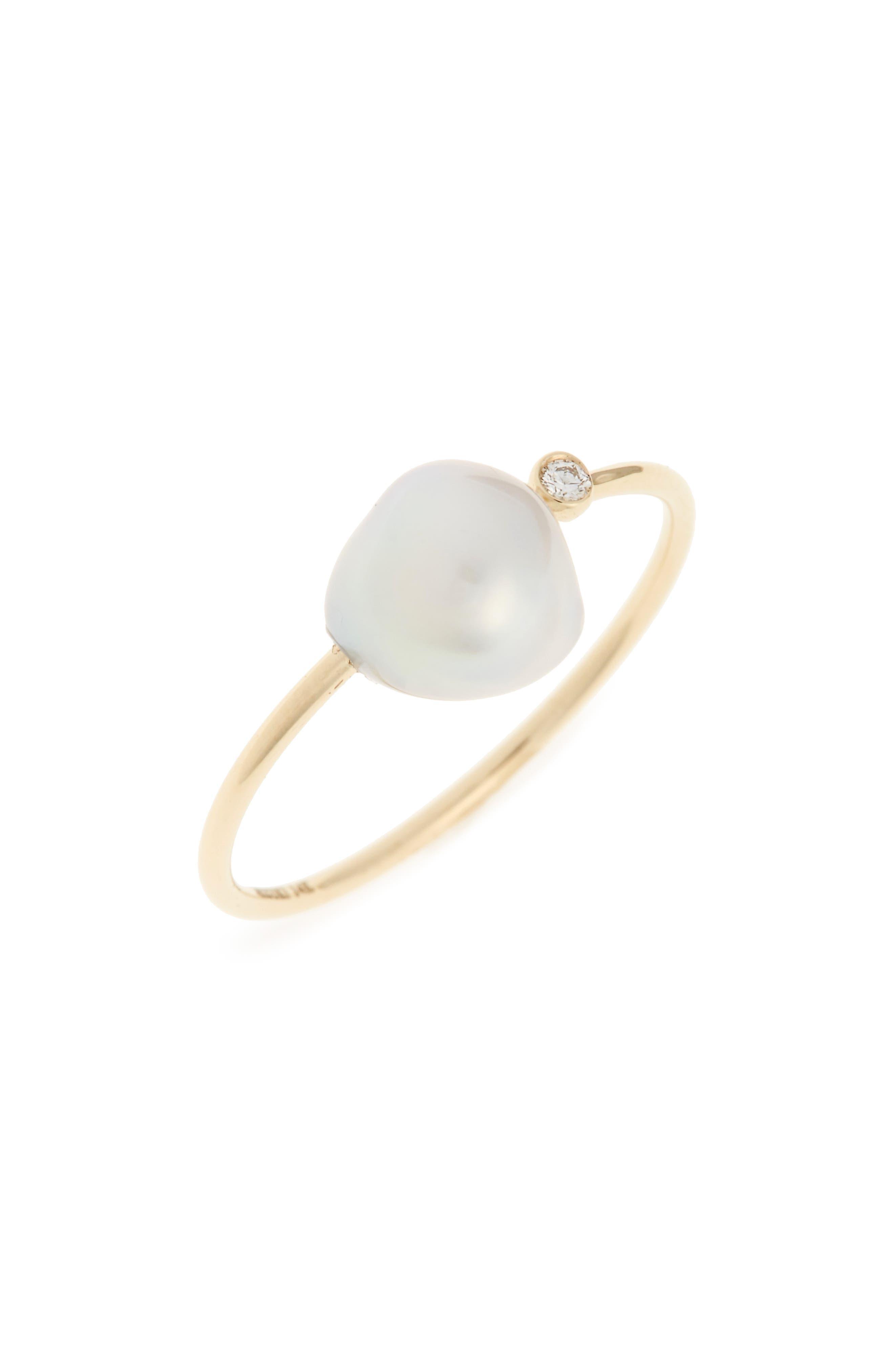 MIZUKI,                             Sea of Beauty Diamond & Keshi Pearl Ring,                             Main thumbnail 1, color,                             YELLOW GOLD/ WHITE PEARL