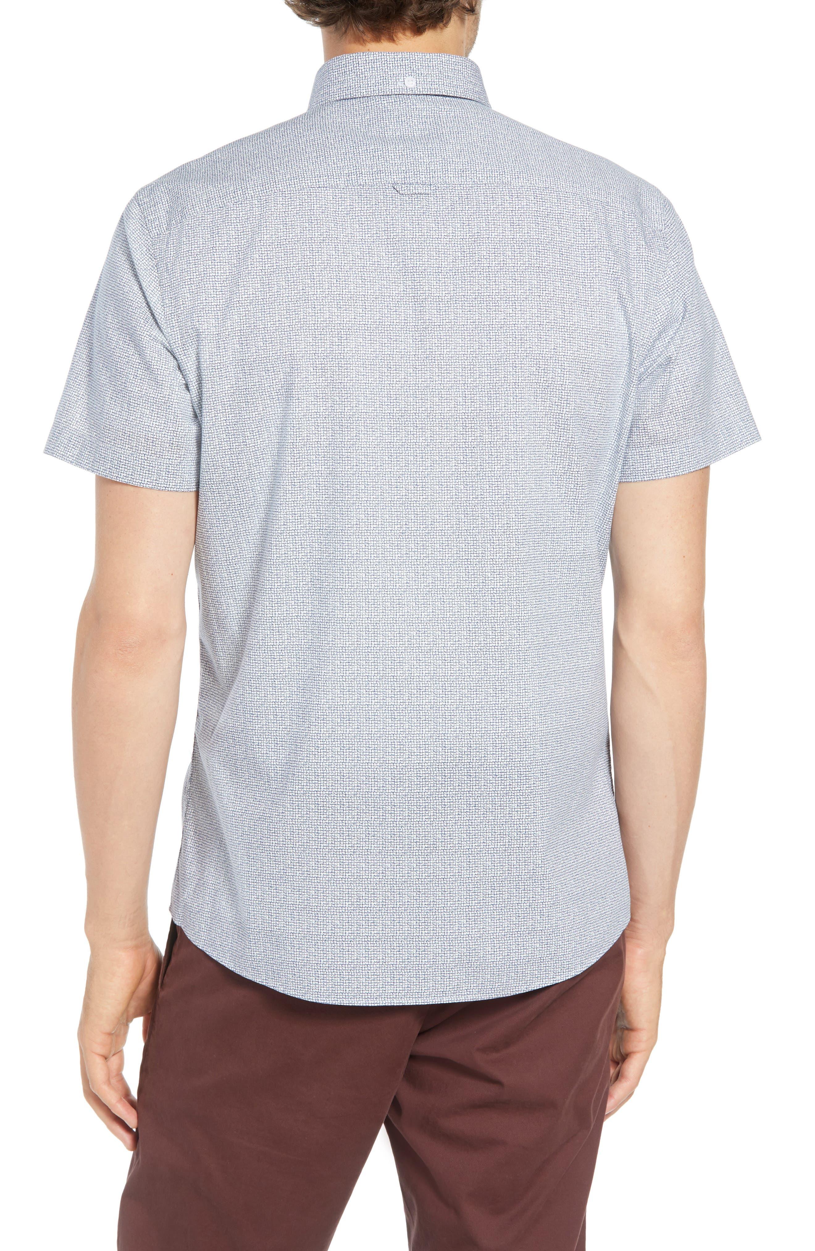 Ivy Trim Fit Print Sport Shirt,                             Alternate thumbnail 2, color,                             NAVY IRIS TEXTURED GRID
