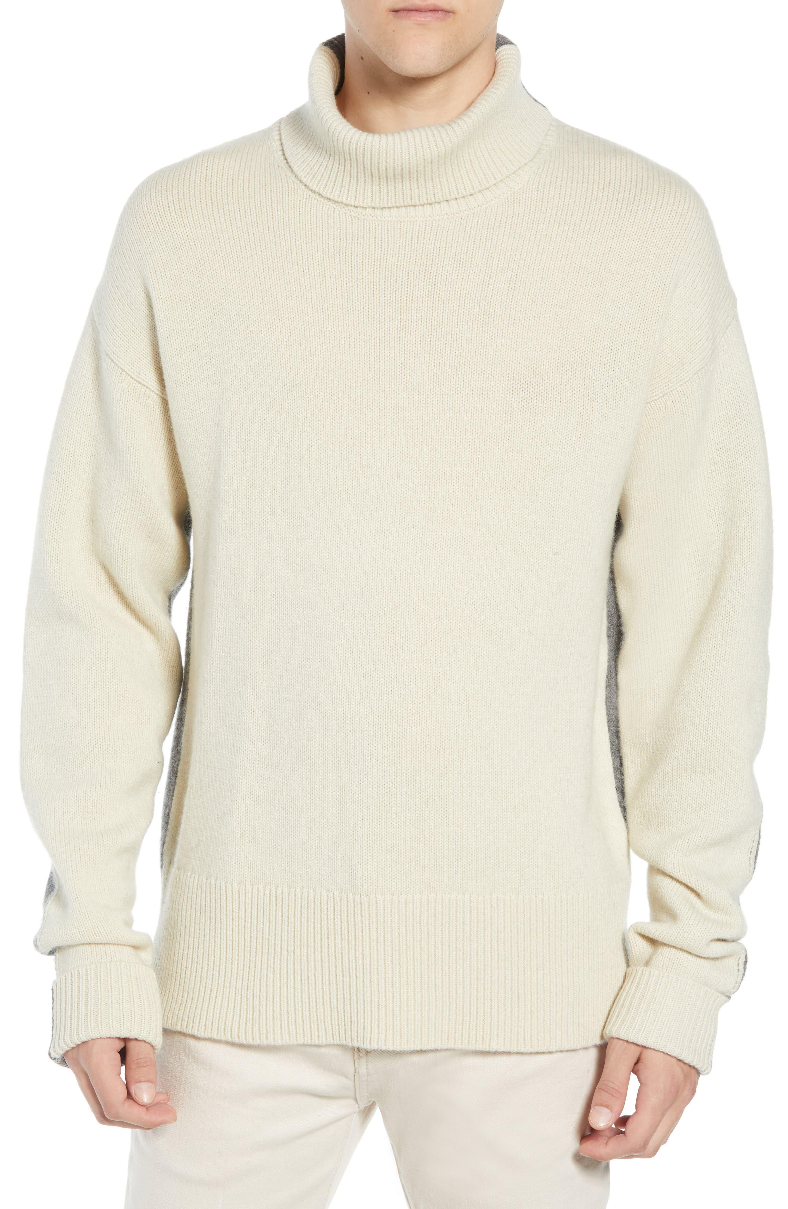 Colorblock Turtleneck Sweater,                             Main thumbnail 1, color,                             FOG MID GREY MELANGE