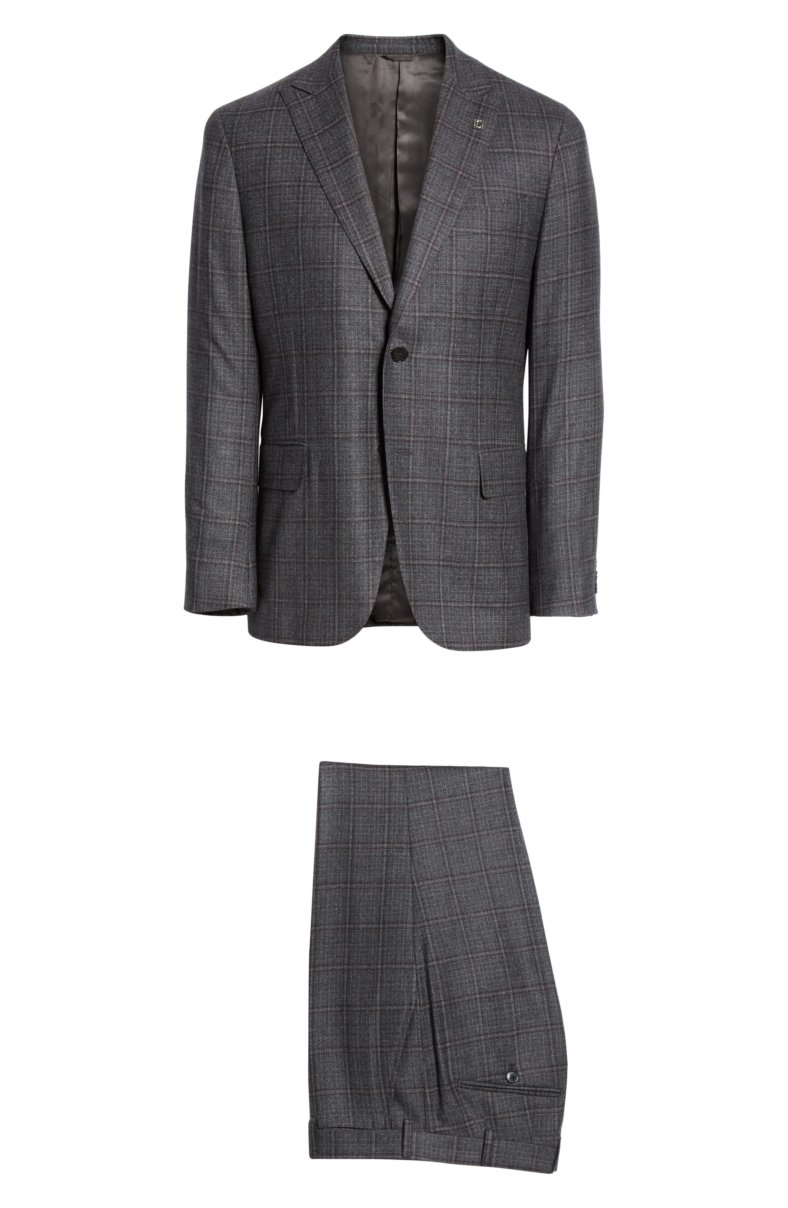Trim Fit Plaid Wool Suit,                             Alternate thumbnail 7, color,                             GREY/ BURGUNDY
