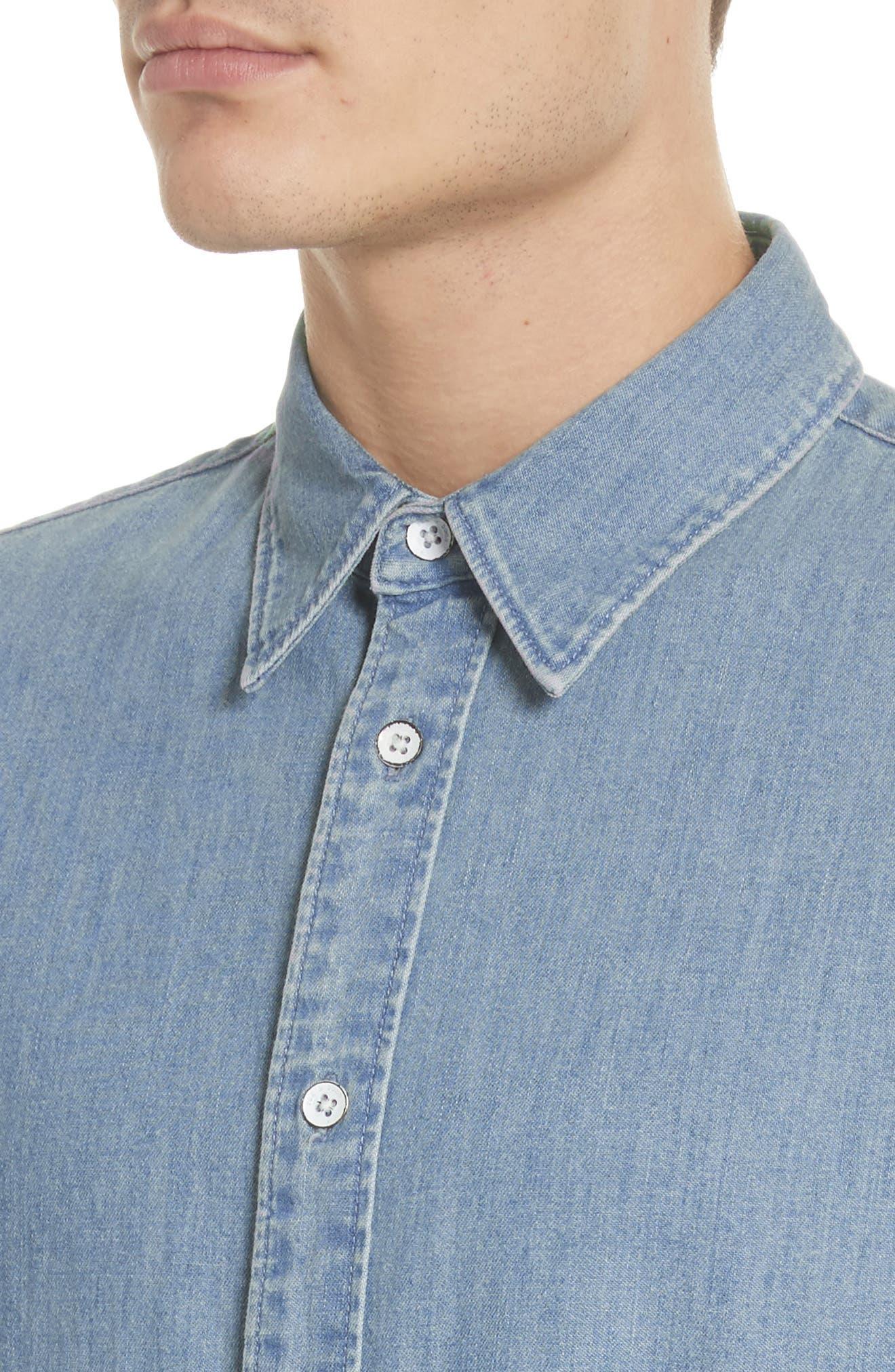Fit 3 Chambray Denim Shirt,                             Alternate thumbnail 4, color,