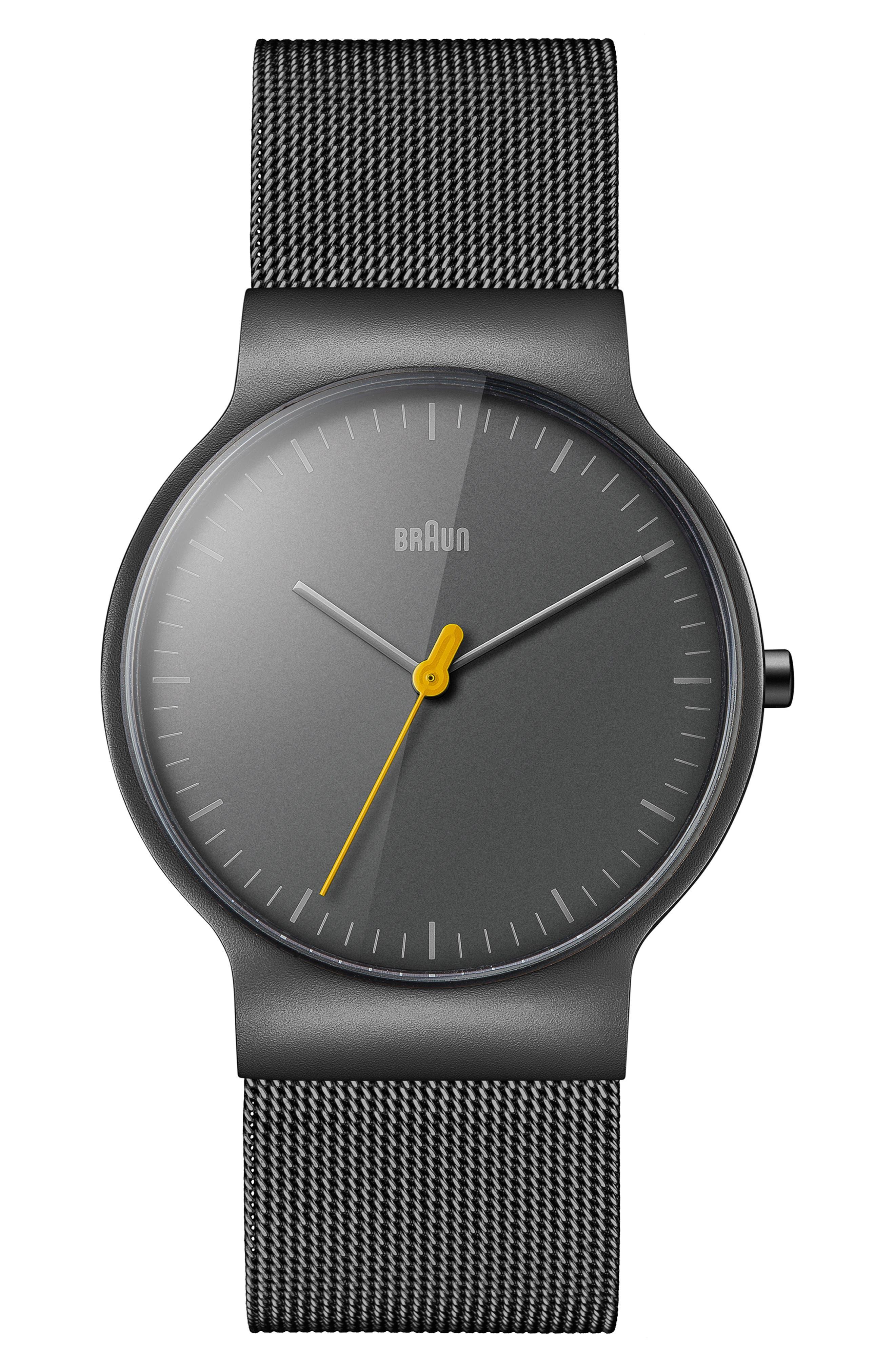 BRAUN Classic Mesh Bracelet Watch, 38Mm in Black/ Gunmetal