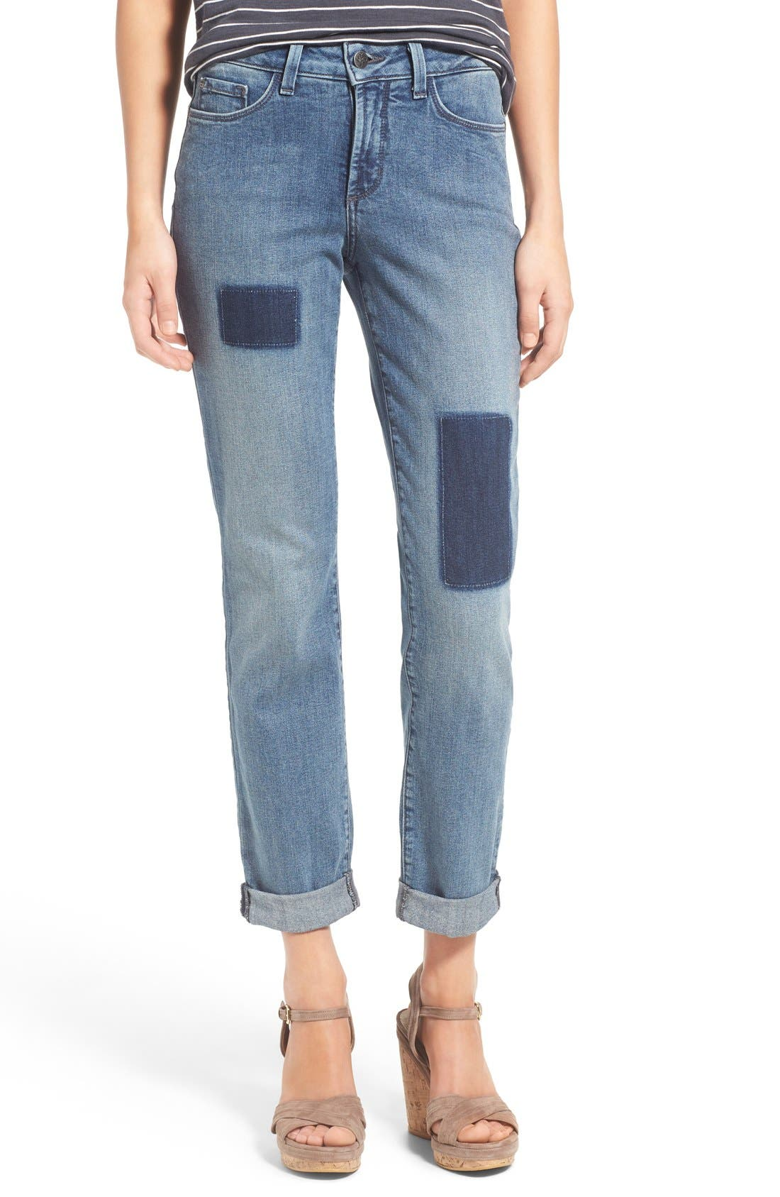 'Sylvia' Patch Detail Stretch Relaxed Boyfriend Jeans,                             Main thumbnail 1, color,                             423