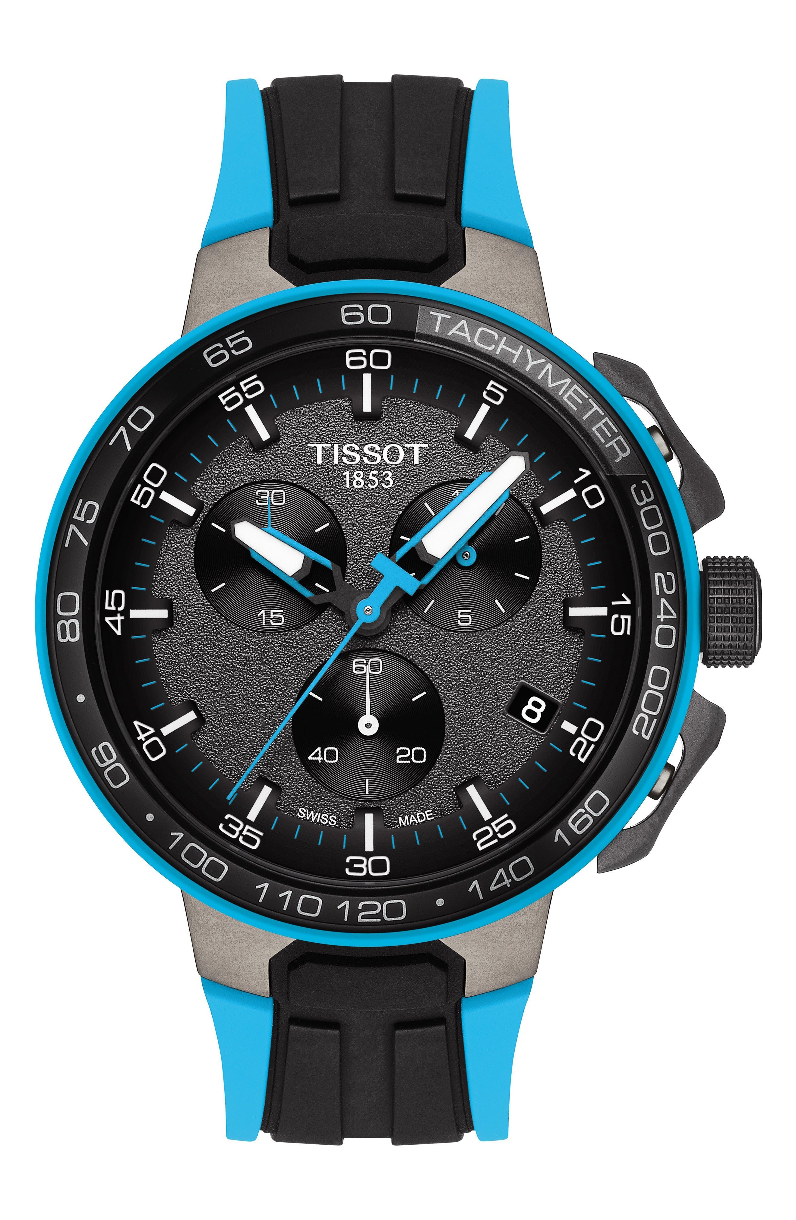 T-Race Cycling Chronograph Watch, 44mm,                             Main thumbnail 1, color,                             BLACK/ GUNMETAL/ BLUE