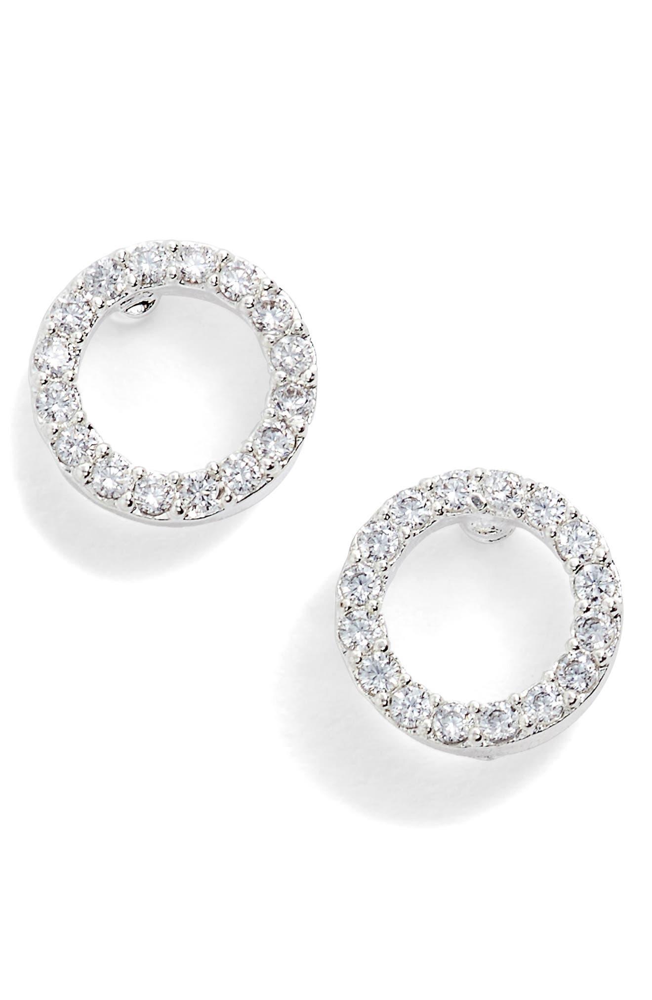 Cubic Zirconia Circle Earrings,                             Alternate thumbnail 3, color,                             040