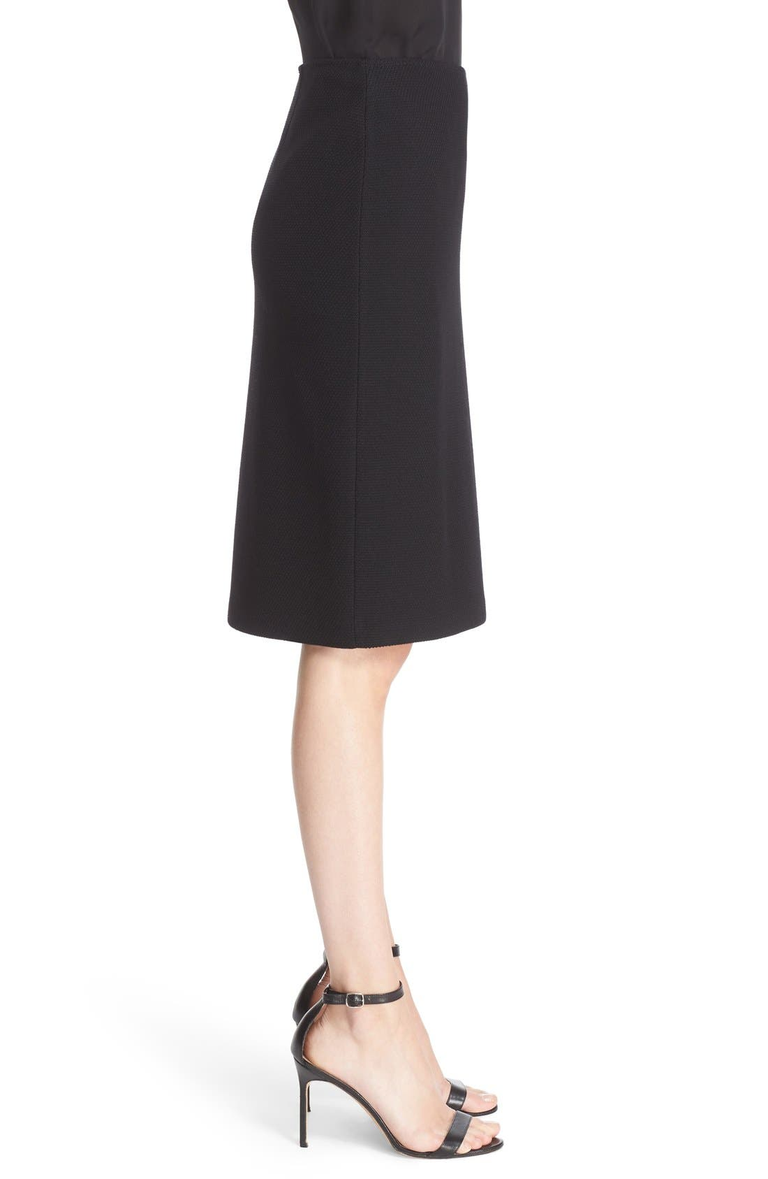 Micro Bouclé Pencil Skirt,                             Alternate thumbnail 7, color,                             CAVIAR