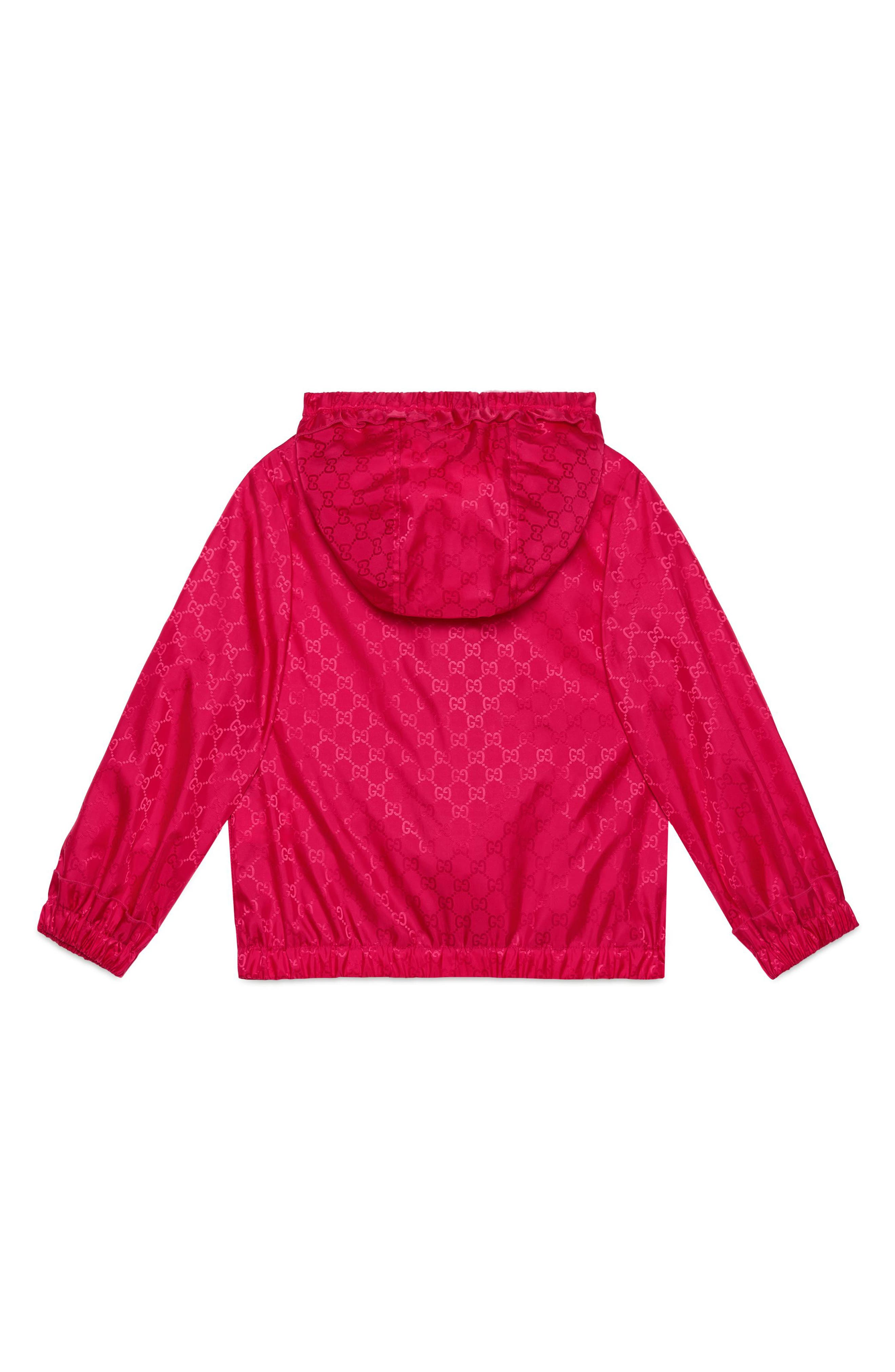 Water Resistant Hooded Windbreaker,                             Alternate thumbnail 2, color,                             FUXIA