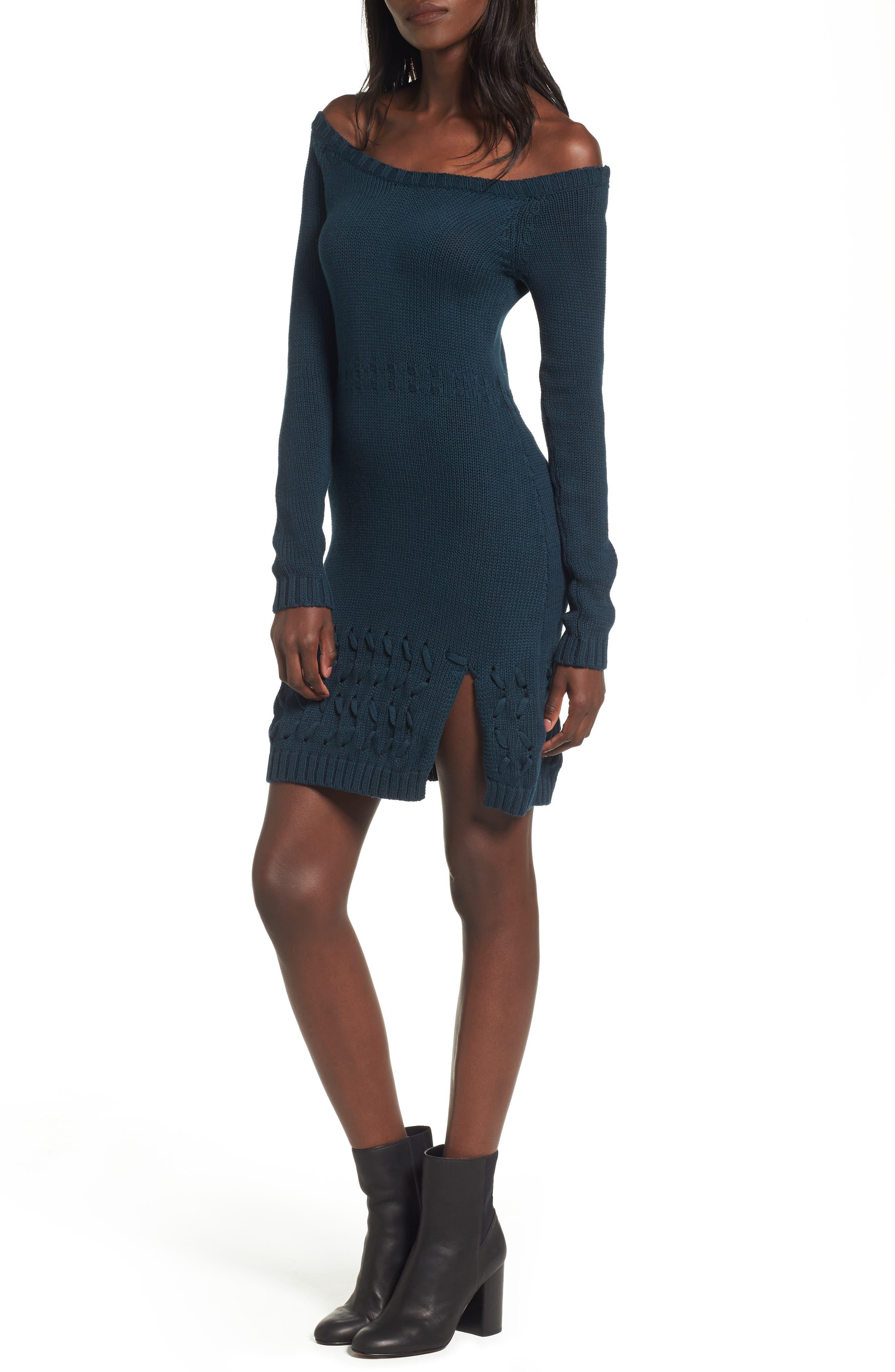 Falling Free Knit Off the Shoulder Dress,                             Main thumbnail 1, color,                             430