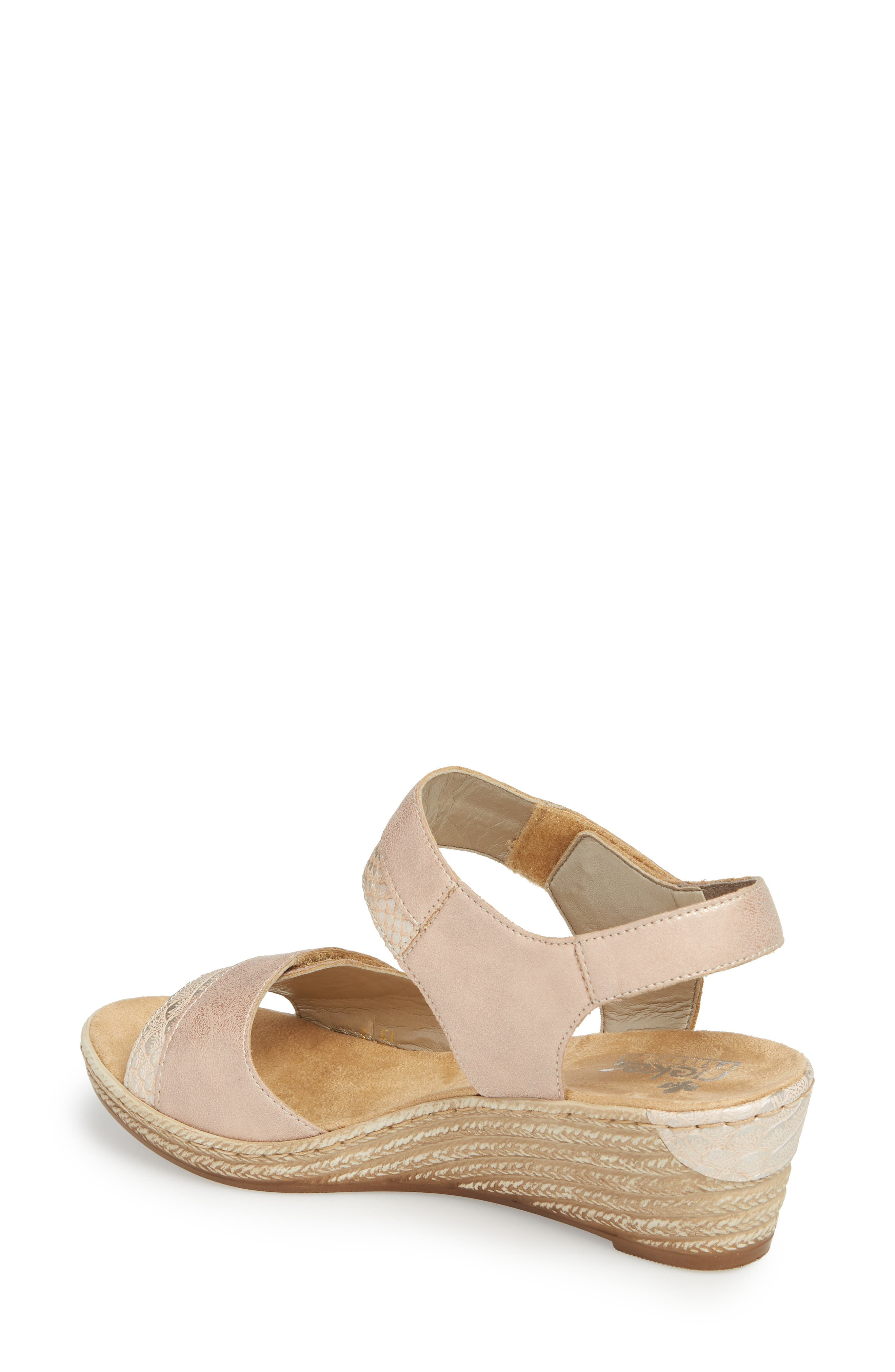 RIEKER ANTISTRESS,                             Fanni 70 Wedge Sandal,                             Alternate thumbnail 2, color,                             ROSE/ GINGER