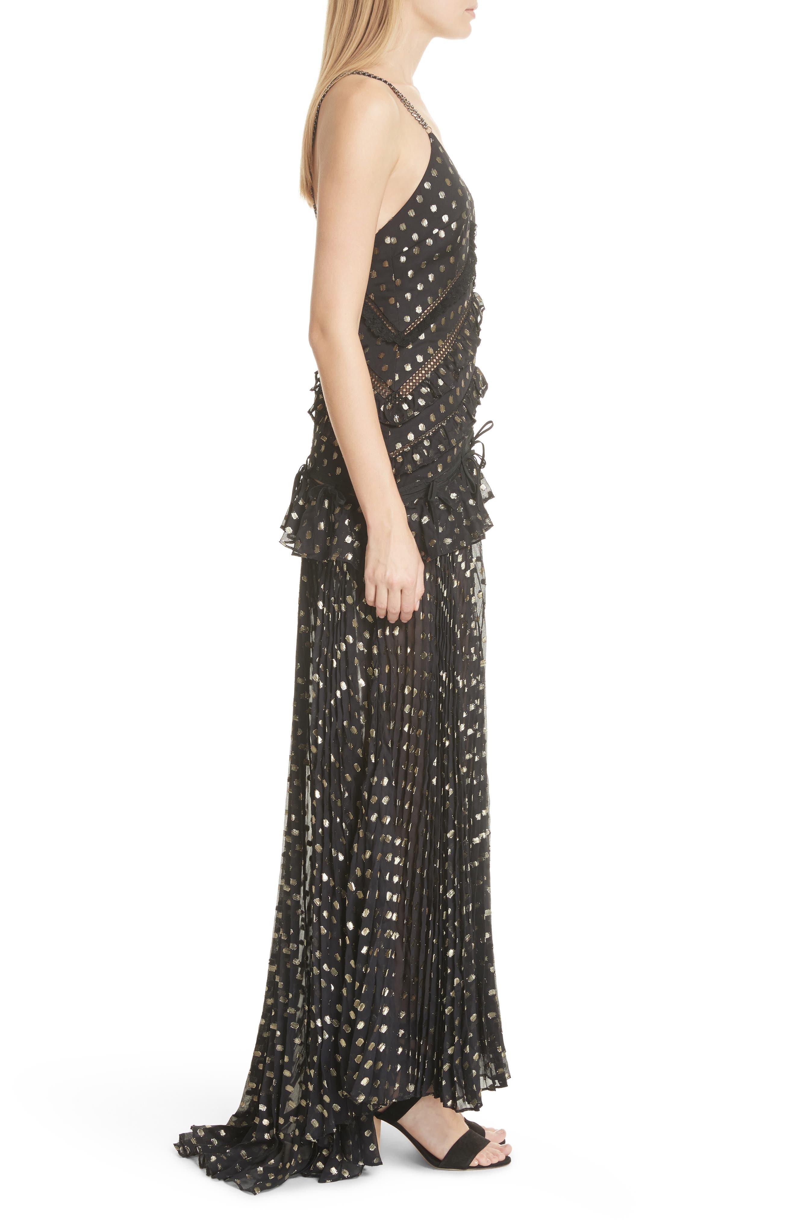Metallic Polka Dot Chain Strap Dress,                             Alternate thumbnail 3, color,                             004
