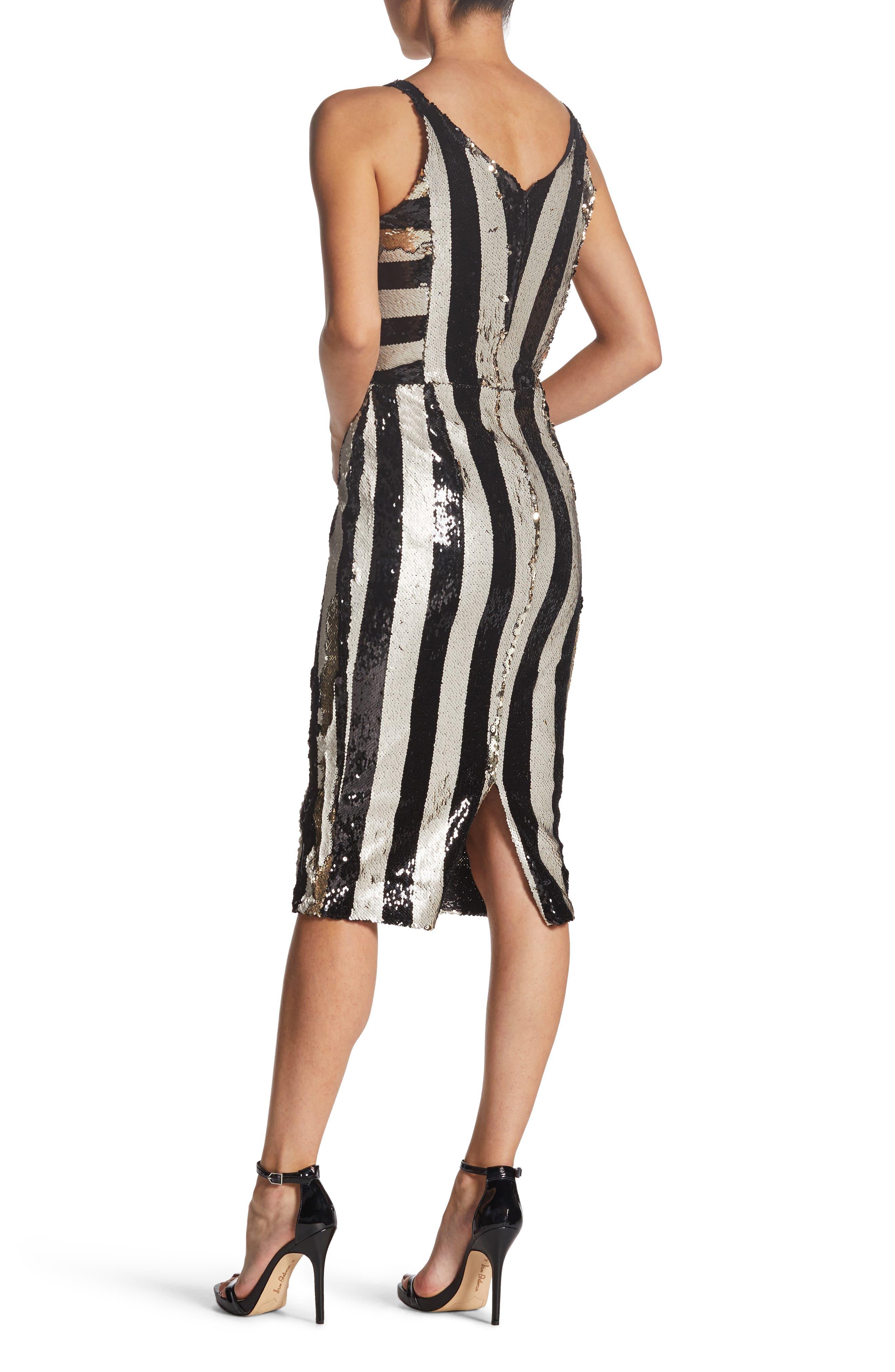 DRESS THE POPULATION,                             Margo Plunging Stripe Dress,                             Alternate thumbnail 2, color,                             002