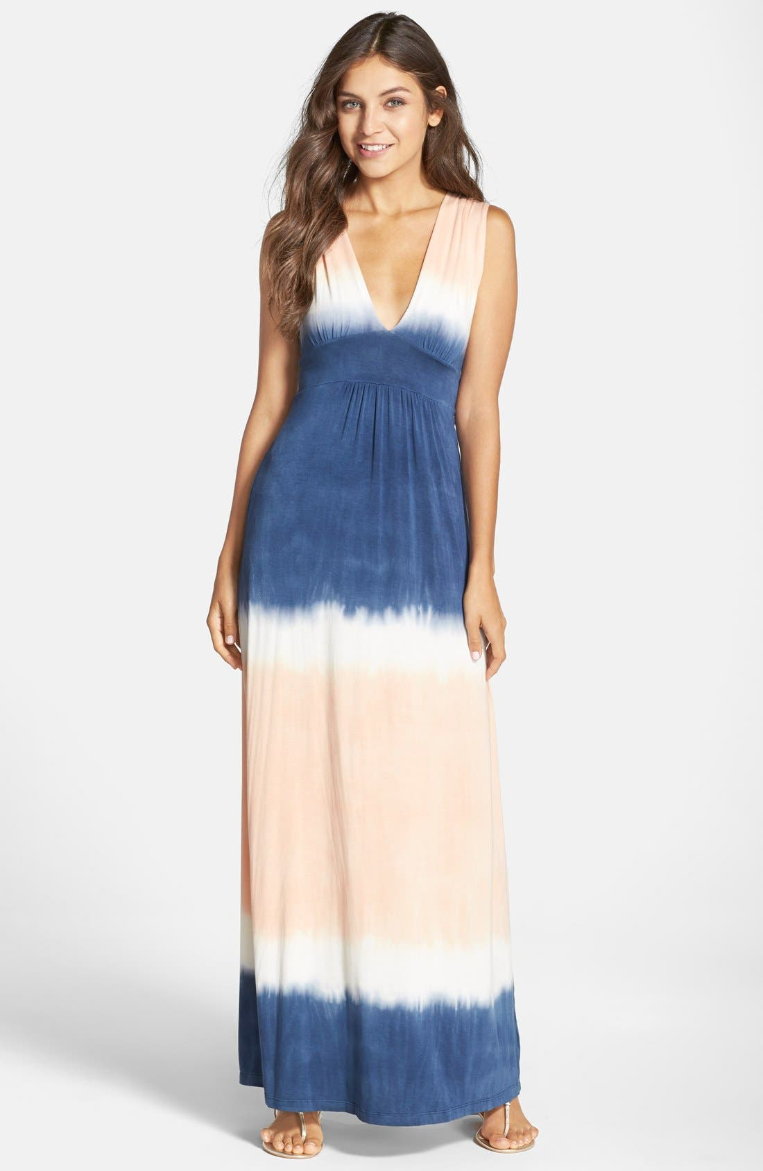 Tie Dye Sleeveless Maxi Dress,                             Main thumbnail 1, color,                             400