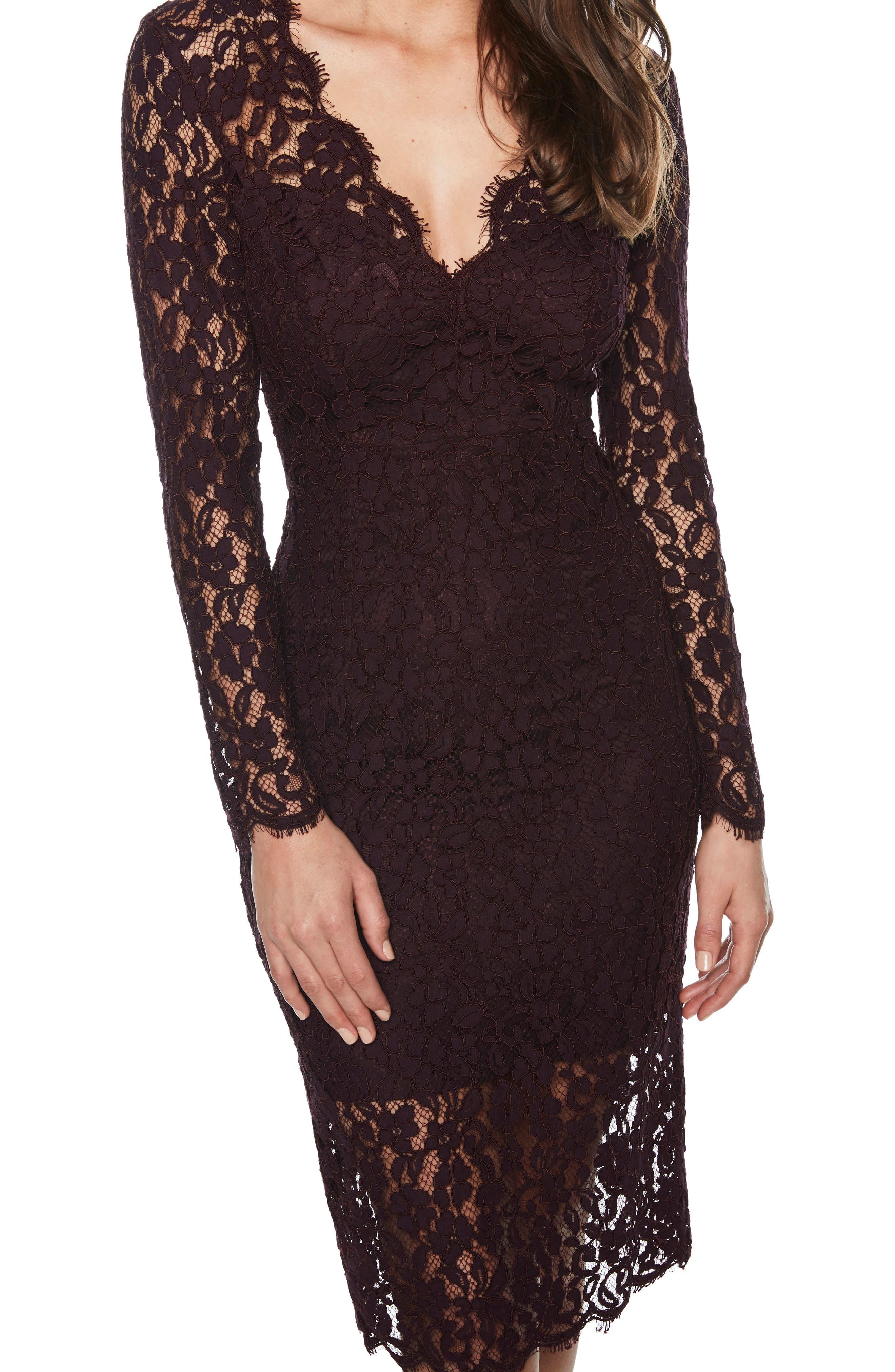 BARDOT,                             Midnights Lace Dress,                             Alternate thumbnail 4, color,                             BLACK
