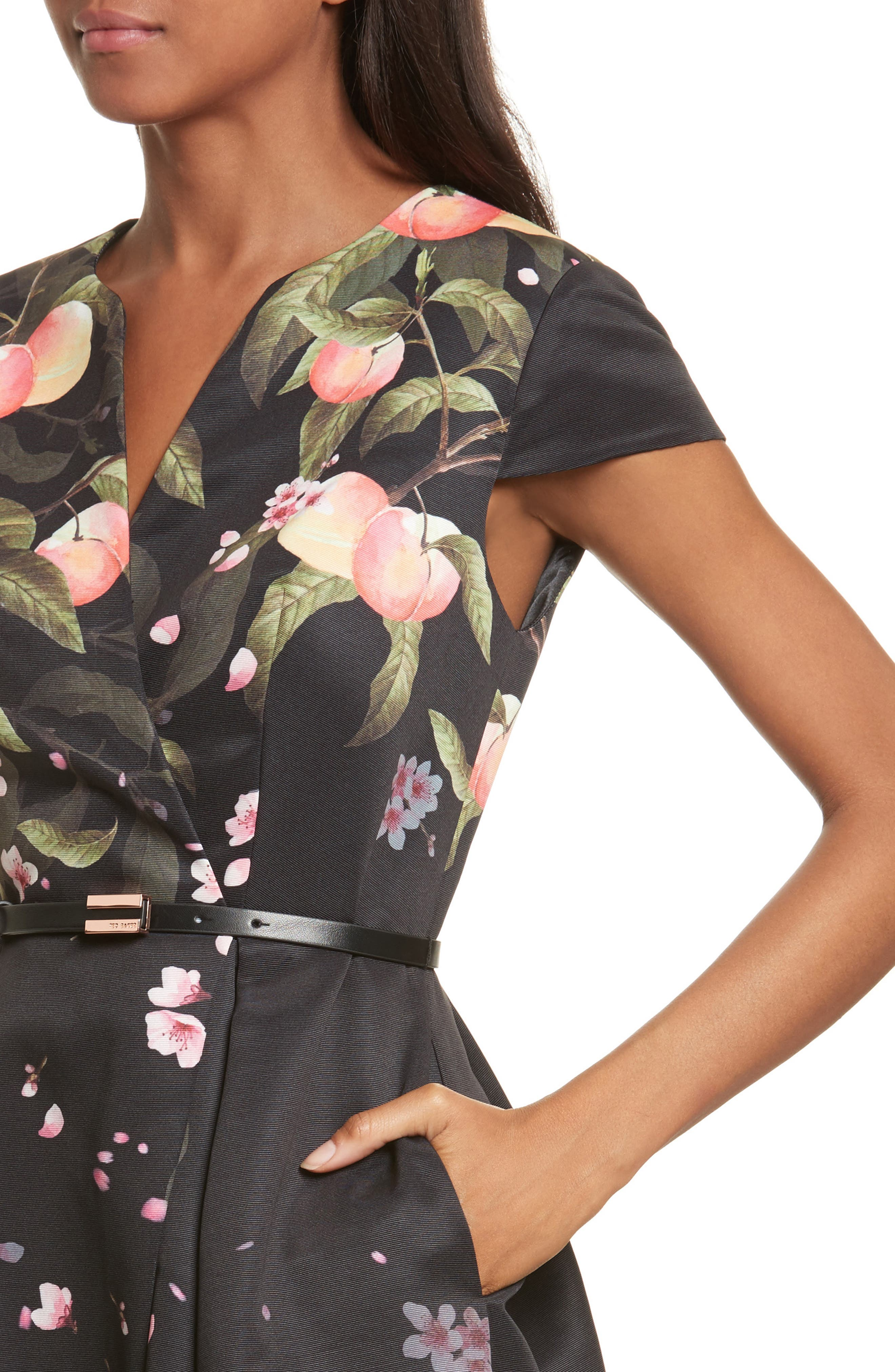TED BAKER LONDON,                             Peach Blossom Faux Wrap Midi Dress,                             Alternate thumbnail 4, color,                             001