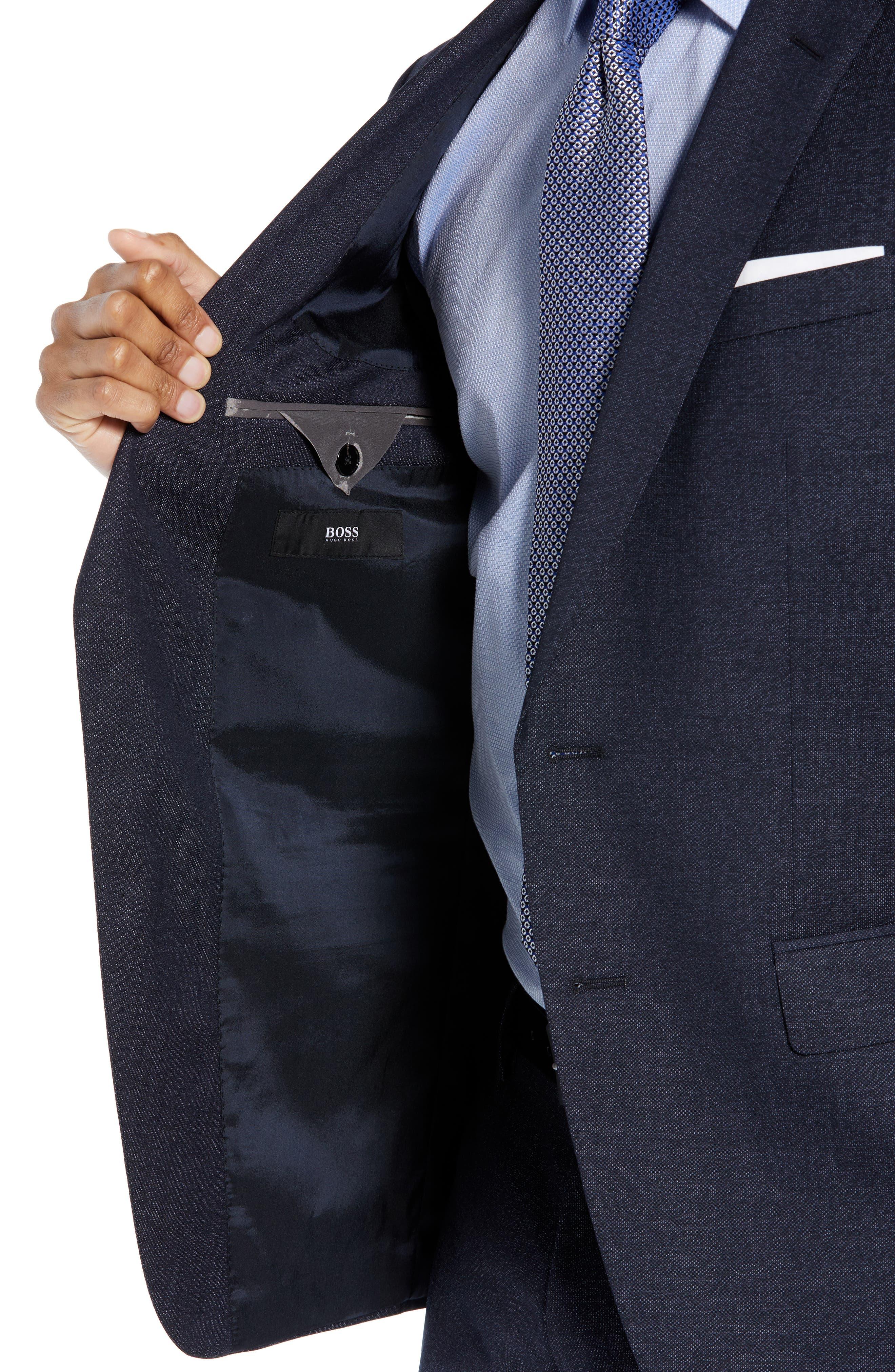 Huge/Genius Trim Fit Solid Wool Suit,                             Alternate thumbnail 4, color,                             OPEN BLUE