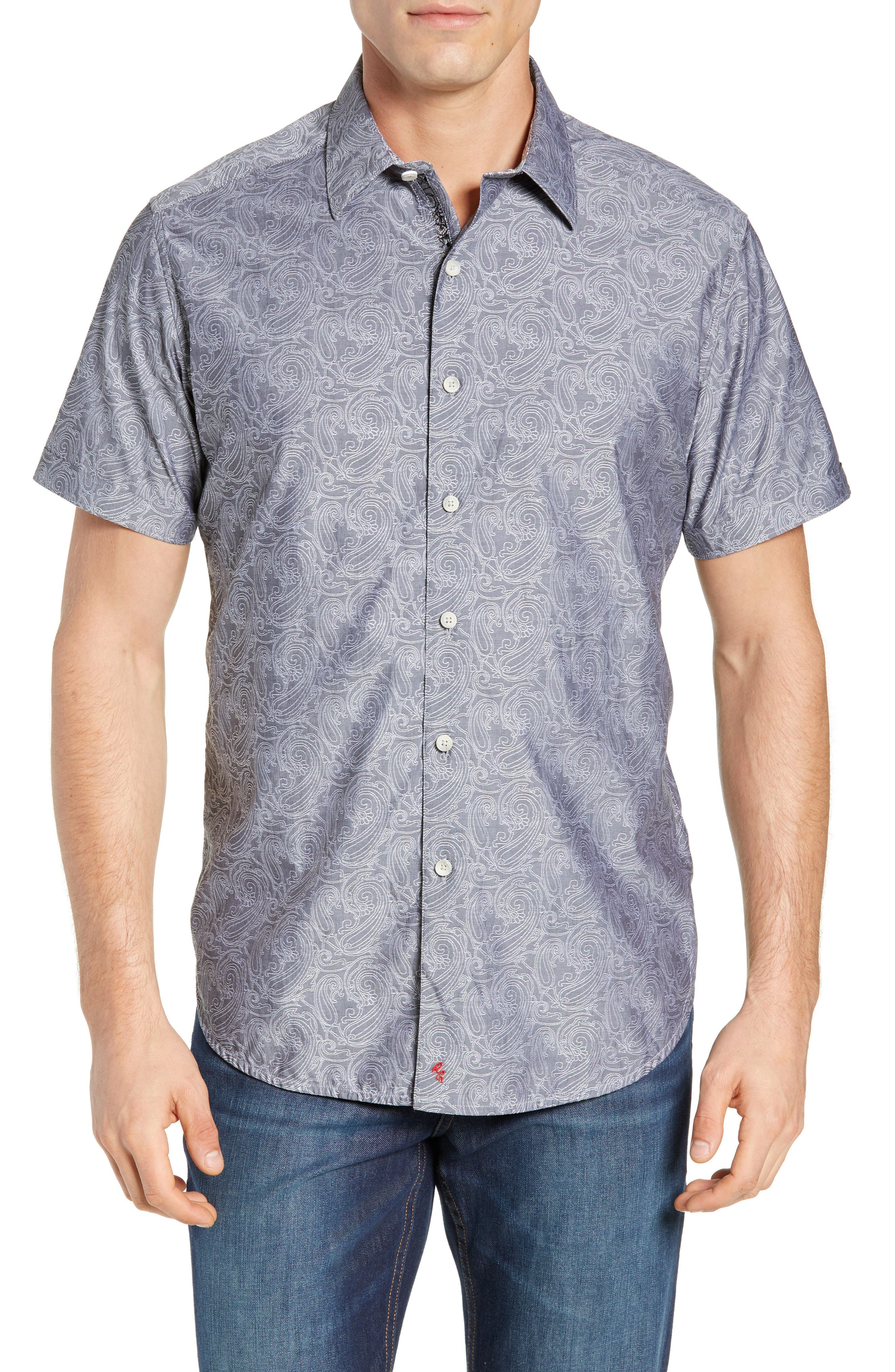 Mainland Classic Fit Paisley Sport Shirt, Main, color, CHARCOAL