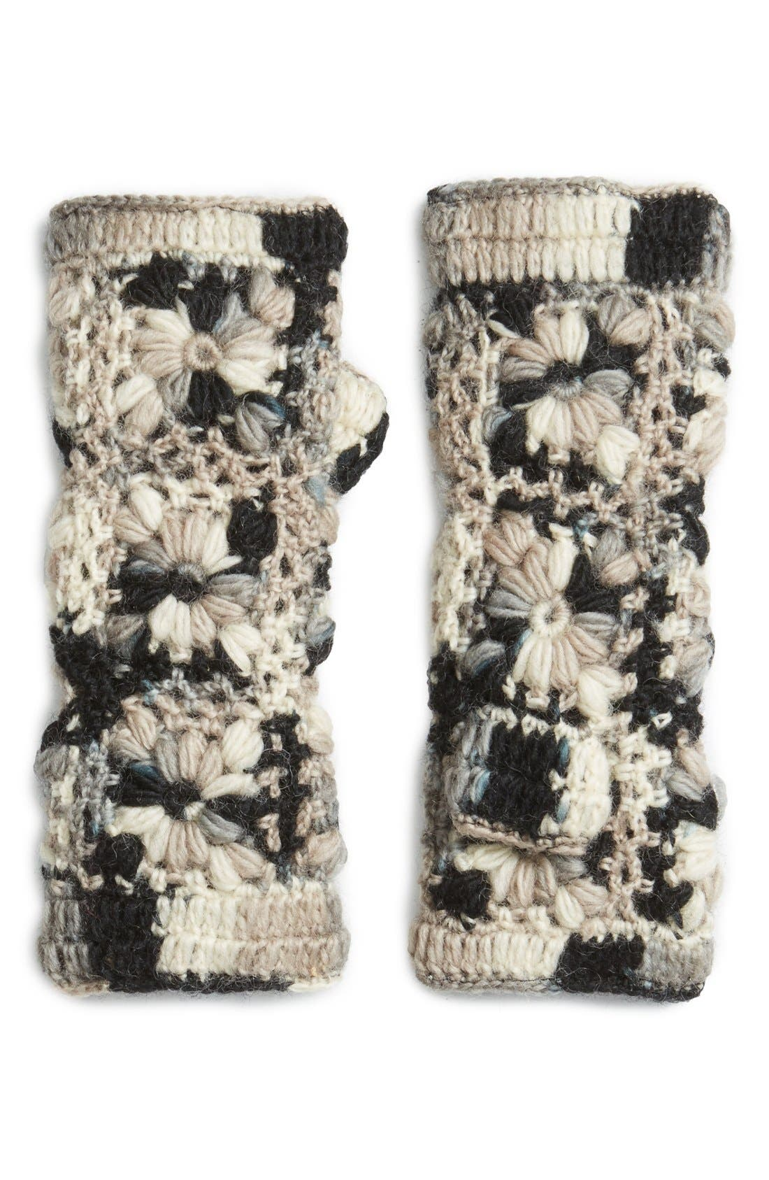 Flower Crochet Hand Warmers,                             Main thumbnail 4, color,