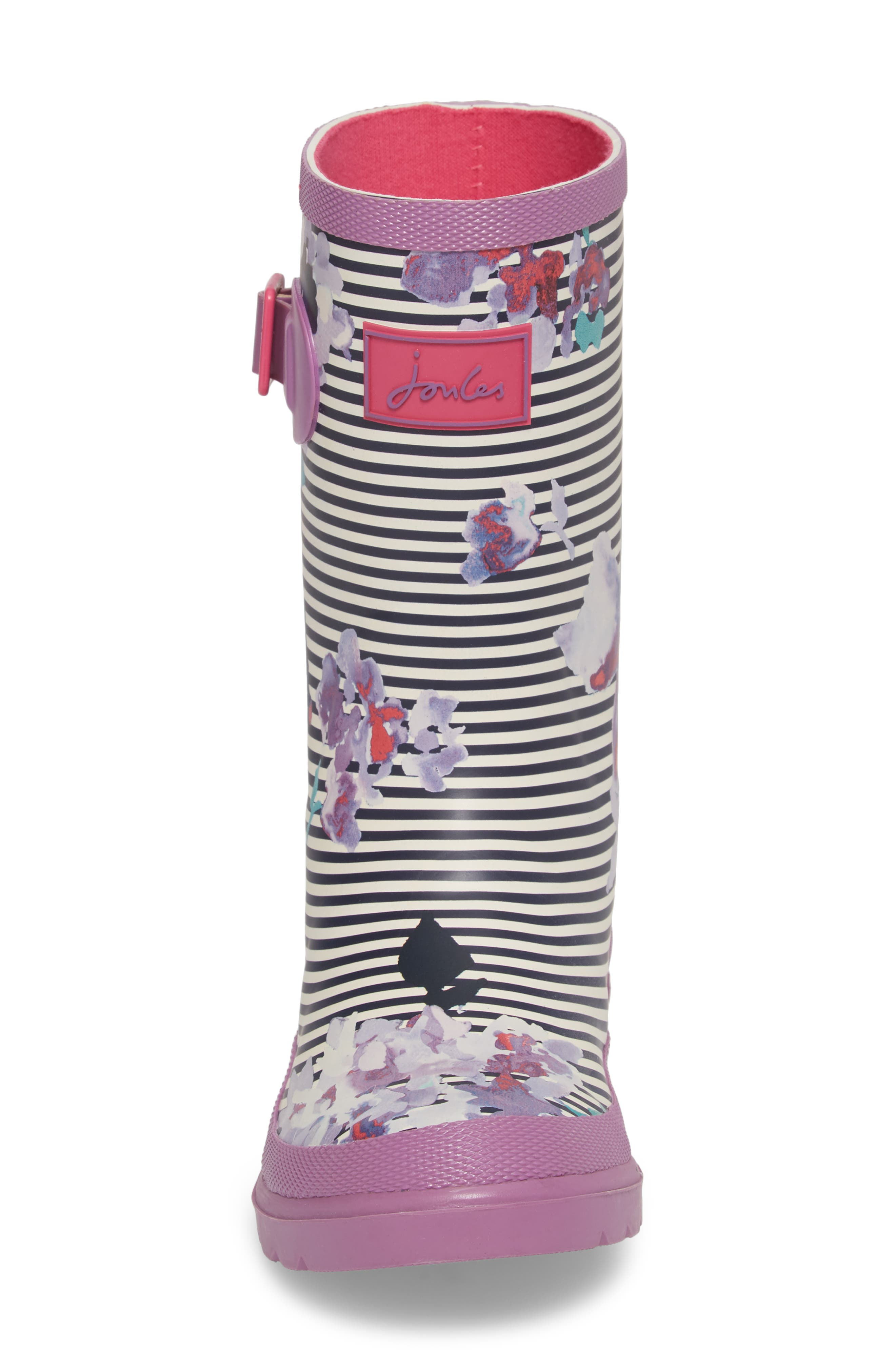Mid Height Print Welly Rain Boot,                             Alternate thumbnail 4, color,                             VIOLET STRIPE FLORAL
