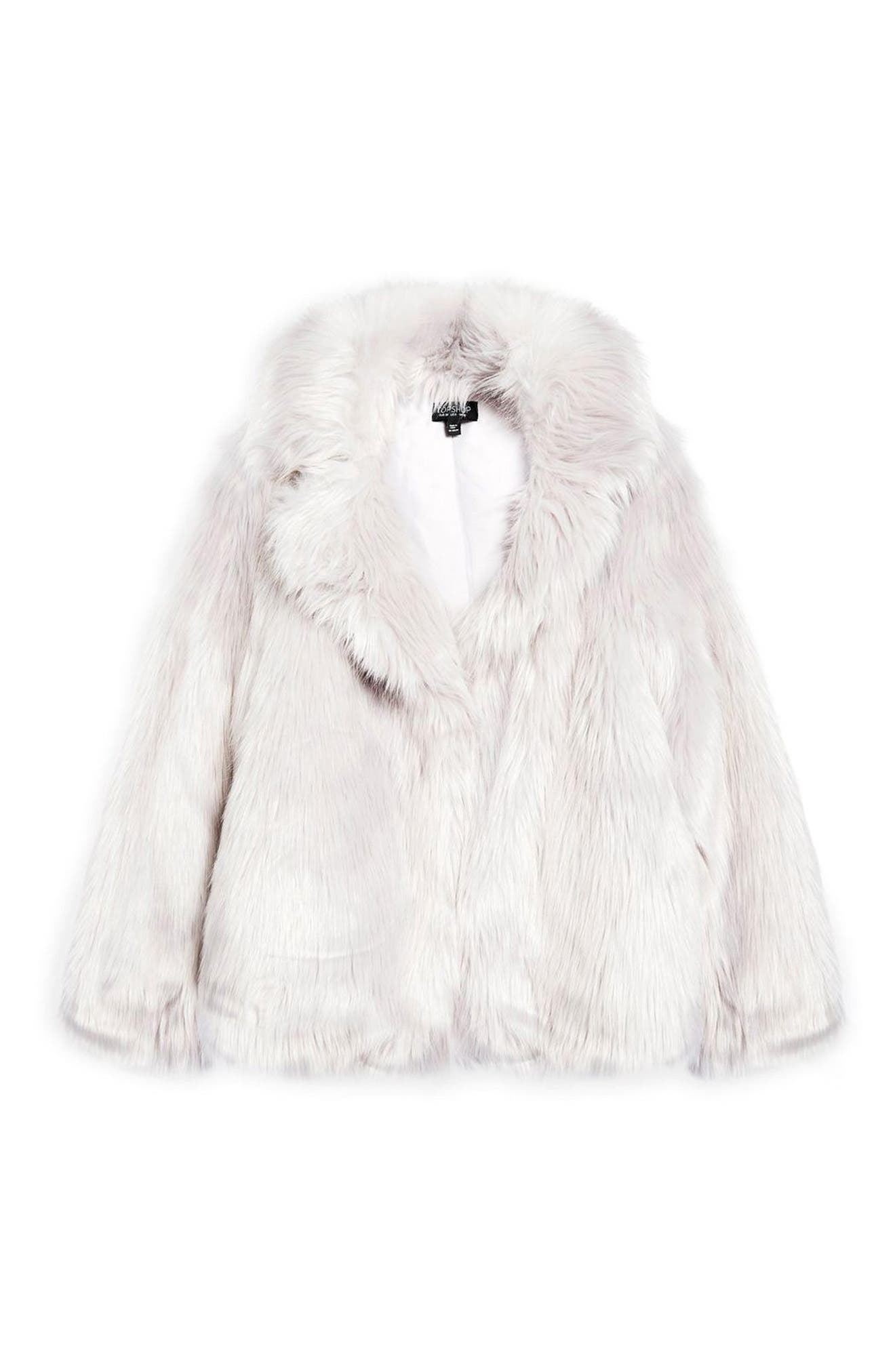 Camille Faux Fur Coat,                             Alternate thumbnail 3, color,                             LIGHT GREY