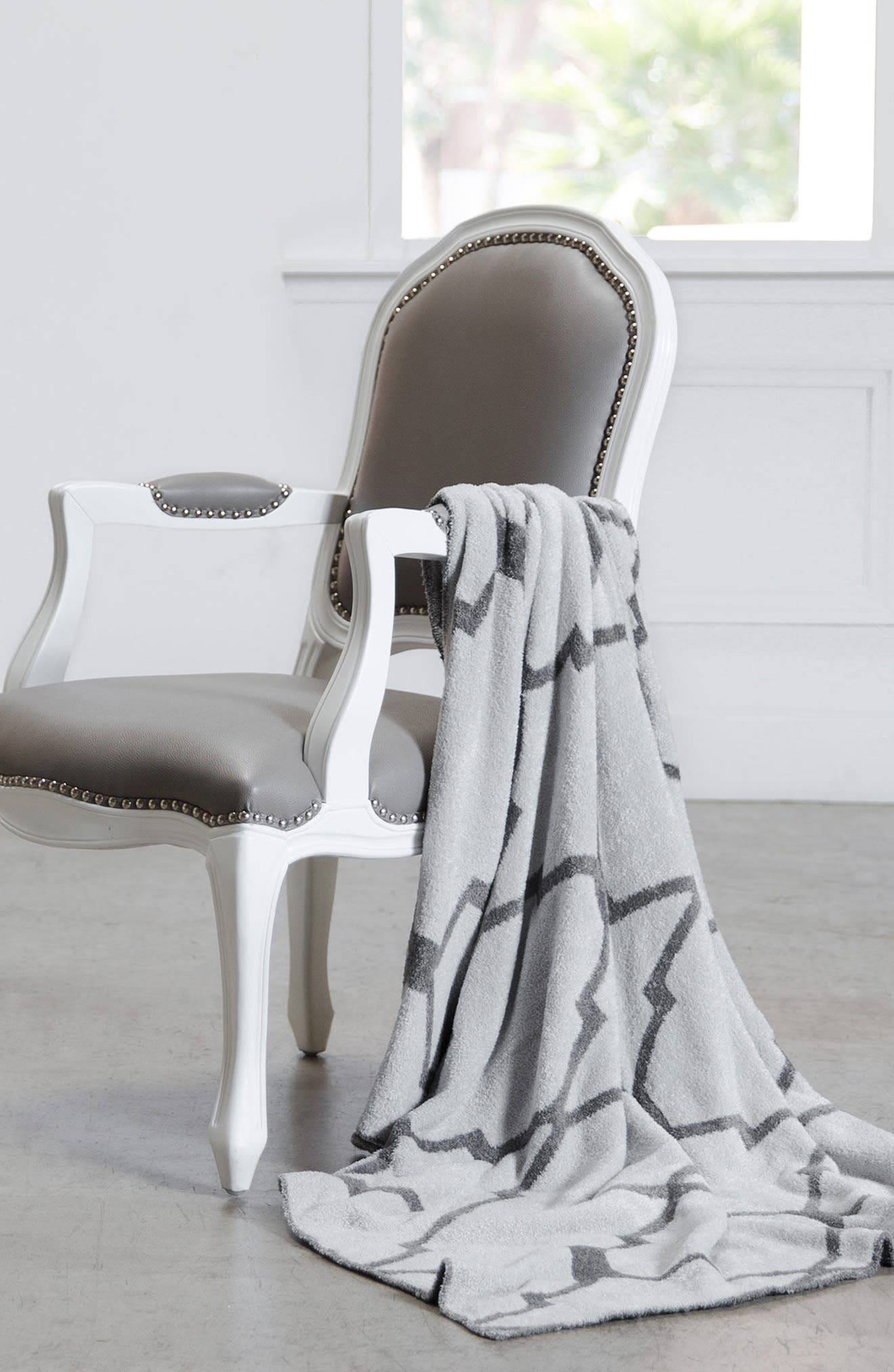 GIRAFFE AT HOME,                             'Moroccan Dolce' Throw,                             Alternate thumbnail 3, color,                             CHARCOAL/ SILVER