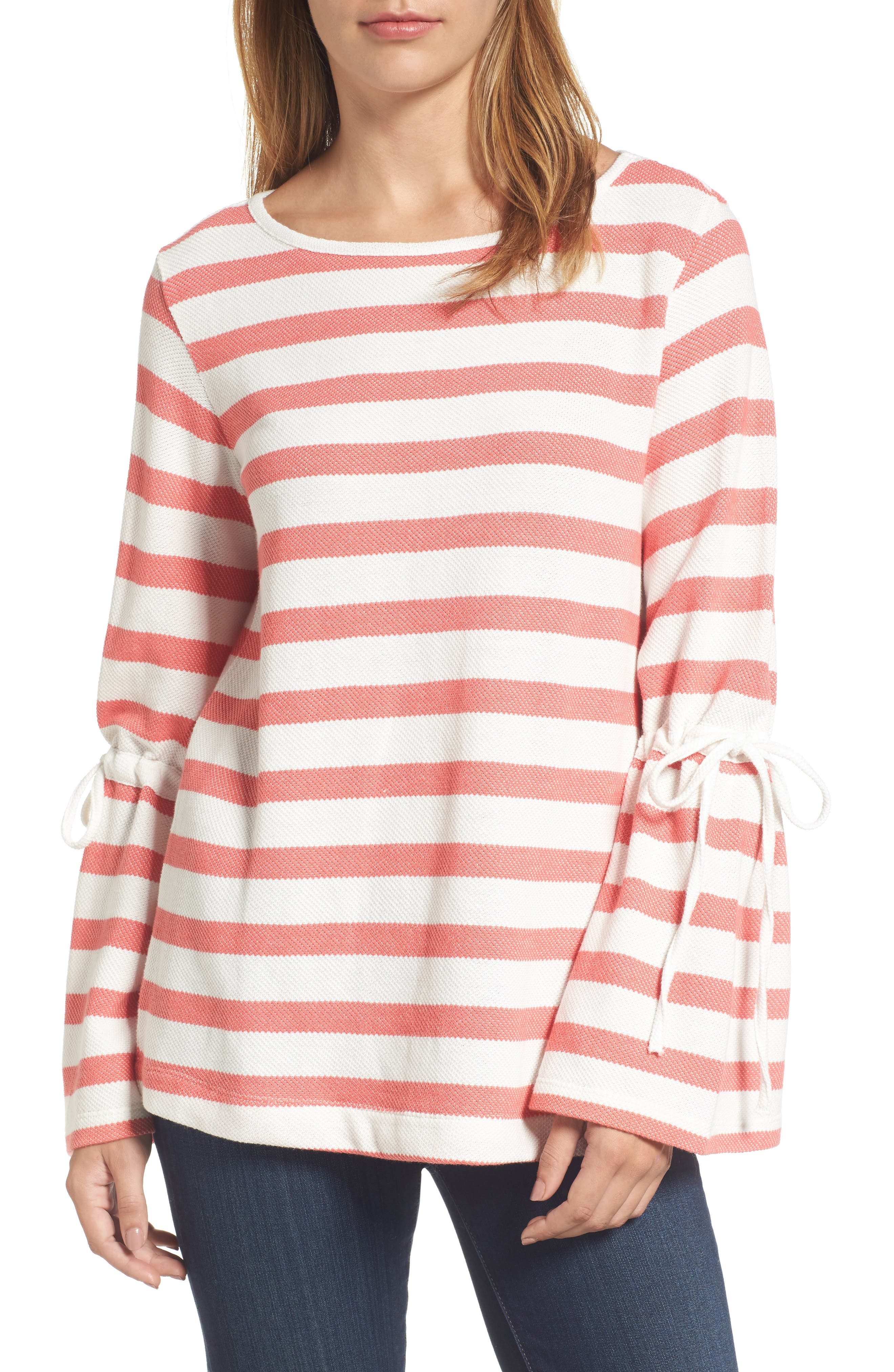 Stripe Bell Sleeve Top,                             Main thumbnail 2, color,