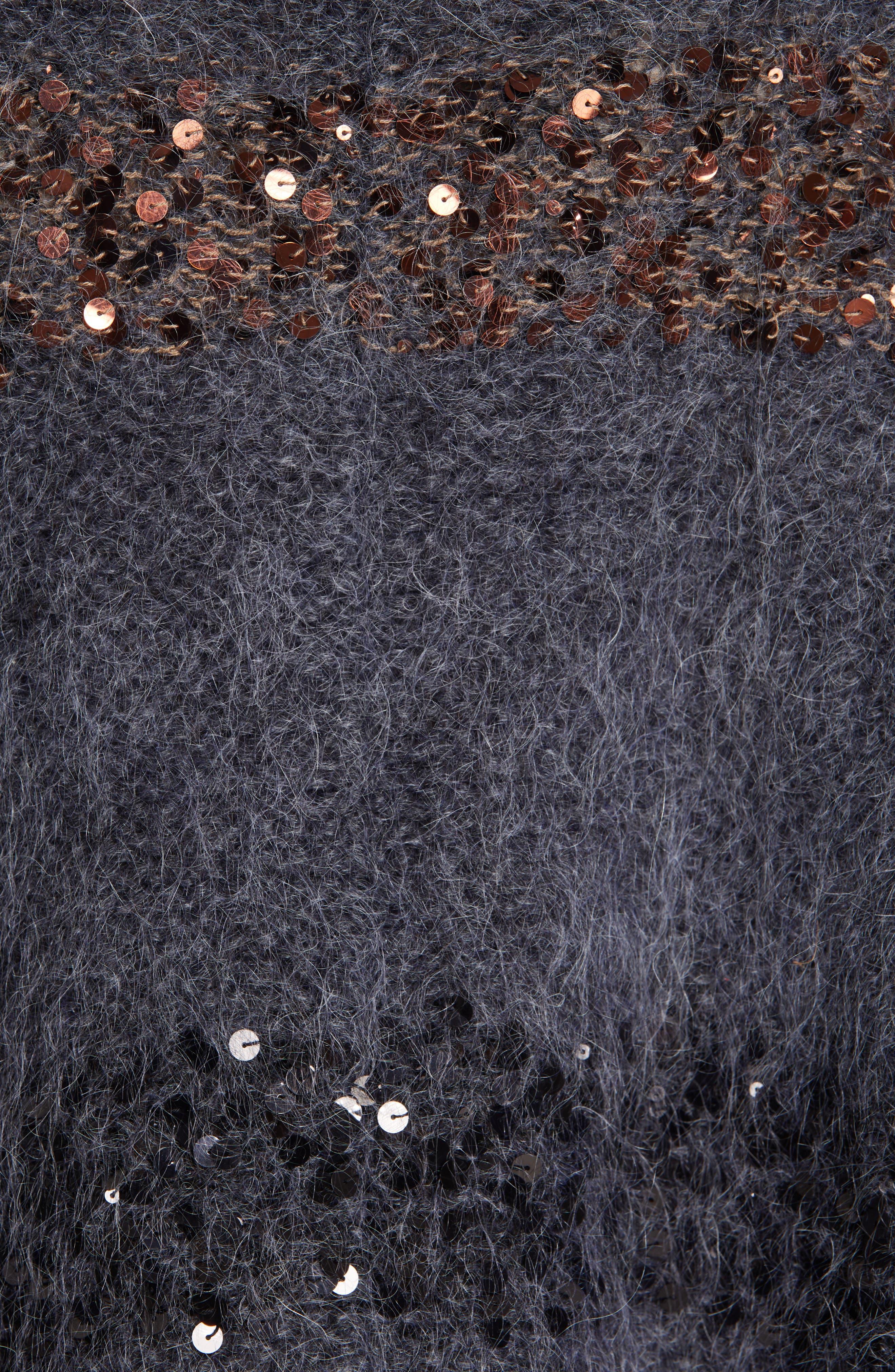 BRUNELLO CUCINELLI,                             Sequin Stripe Poncho Sweater,                             Alternate thumbnail 6, color,                             ANTHRACITE