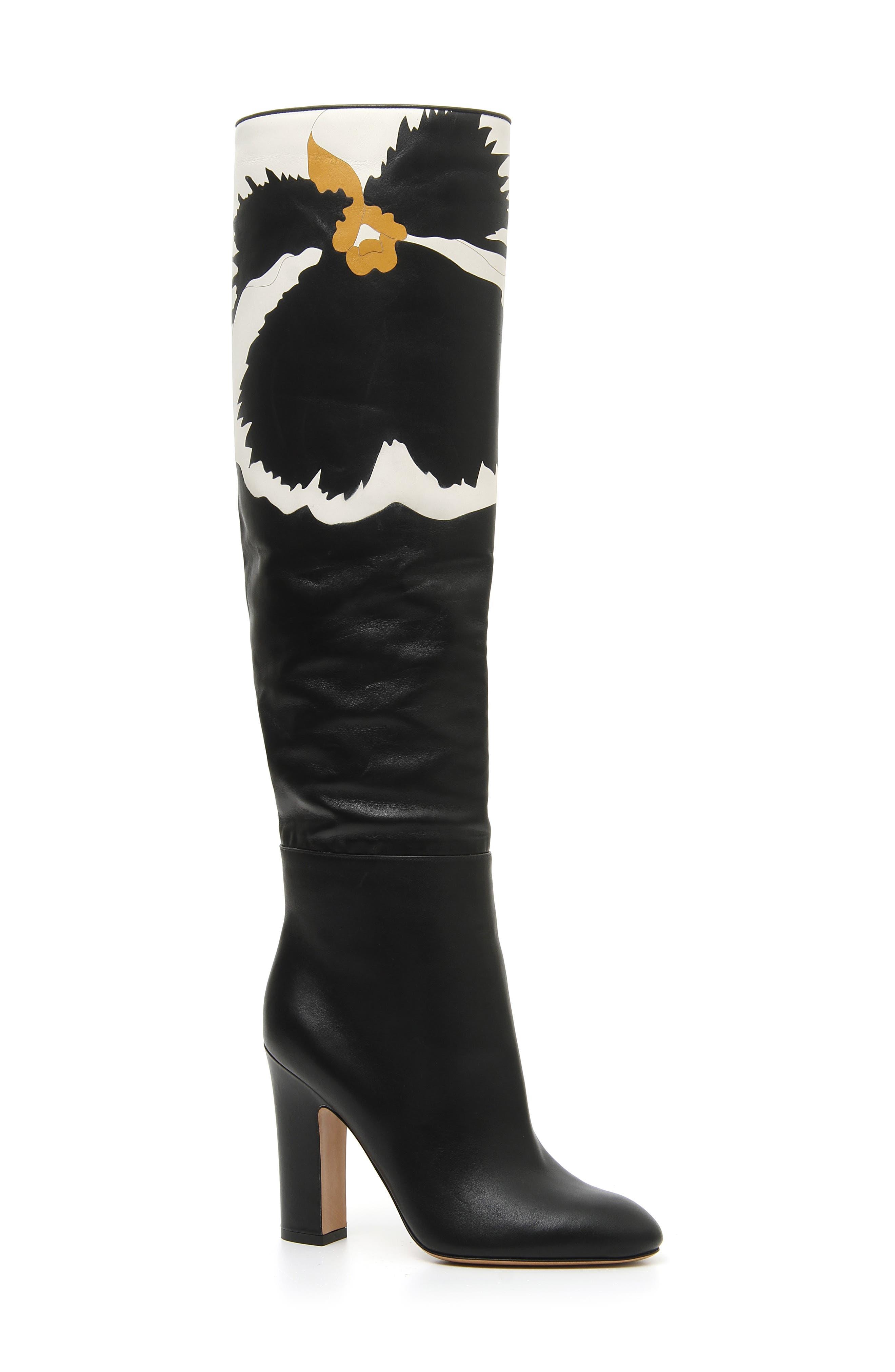 Bloom Block Heel Boot,                             Main thumbnail 1, color,                             BLACK