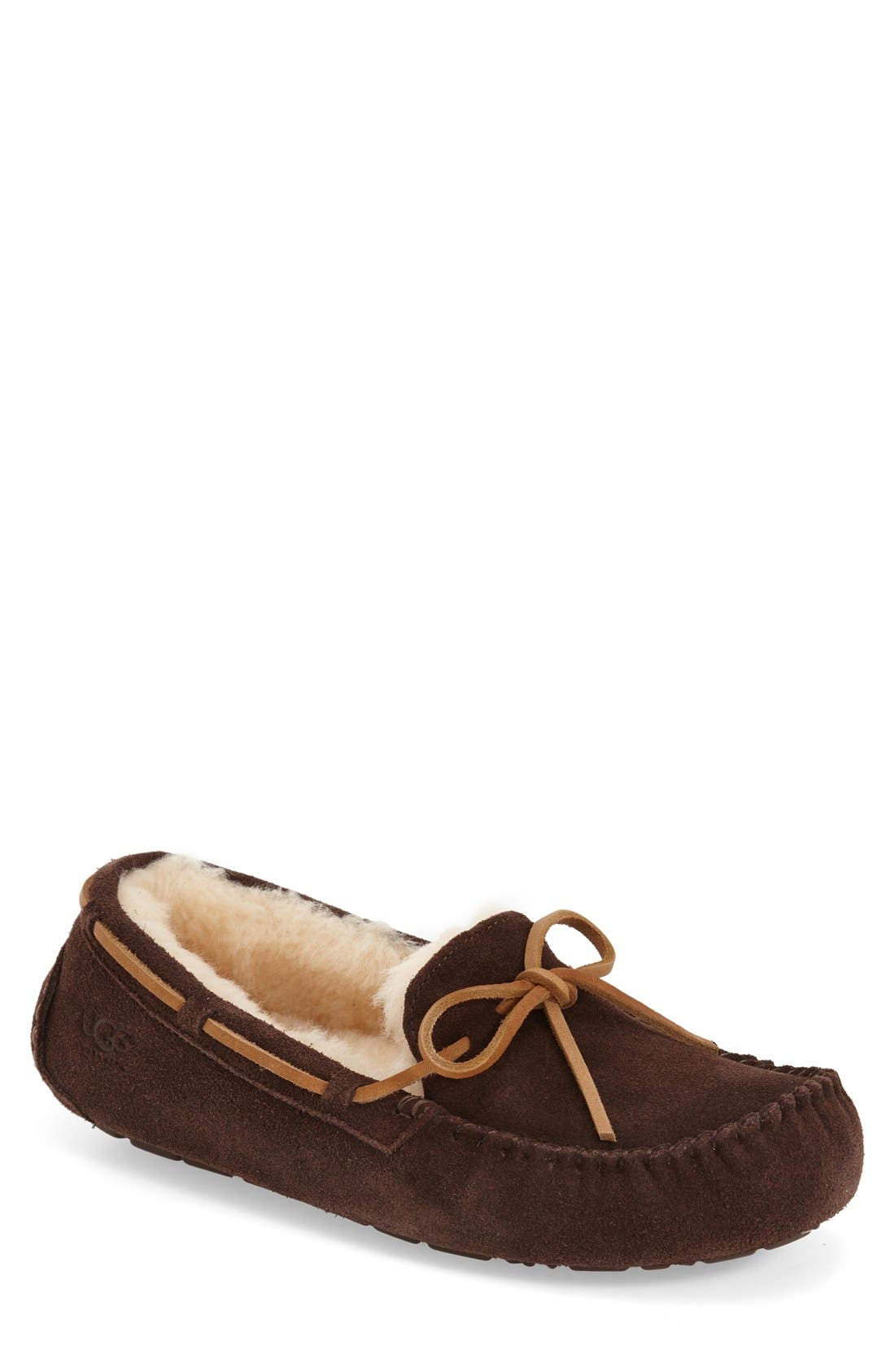 UGG<SUP>®</SUP> 'Olsen' Moccasin Slipper, Main, color, ESPRESSO