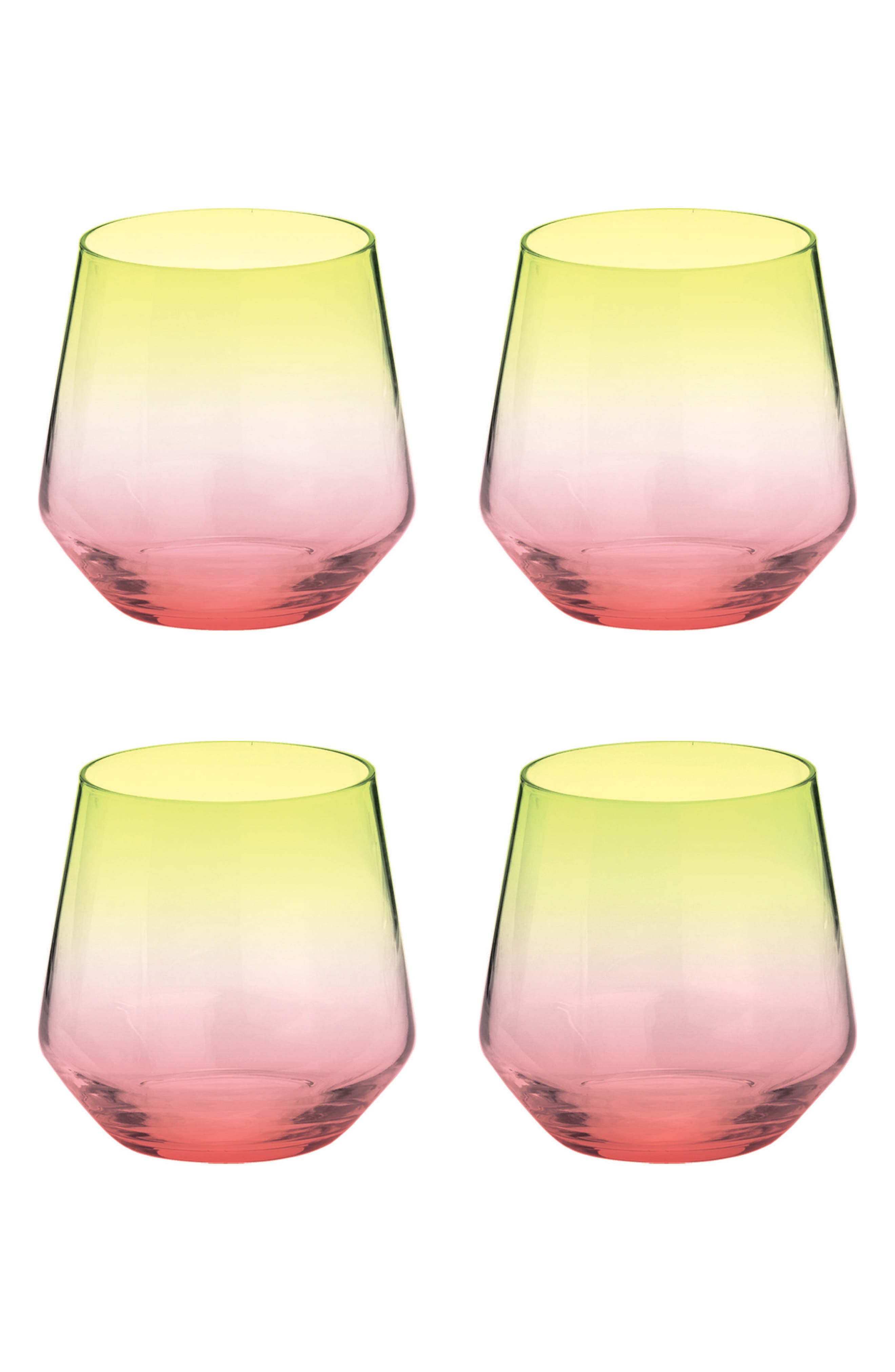 Zesty Life Set of 4 Stemless White Wine Glasses,                         Main,                         color, WATERMELON