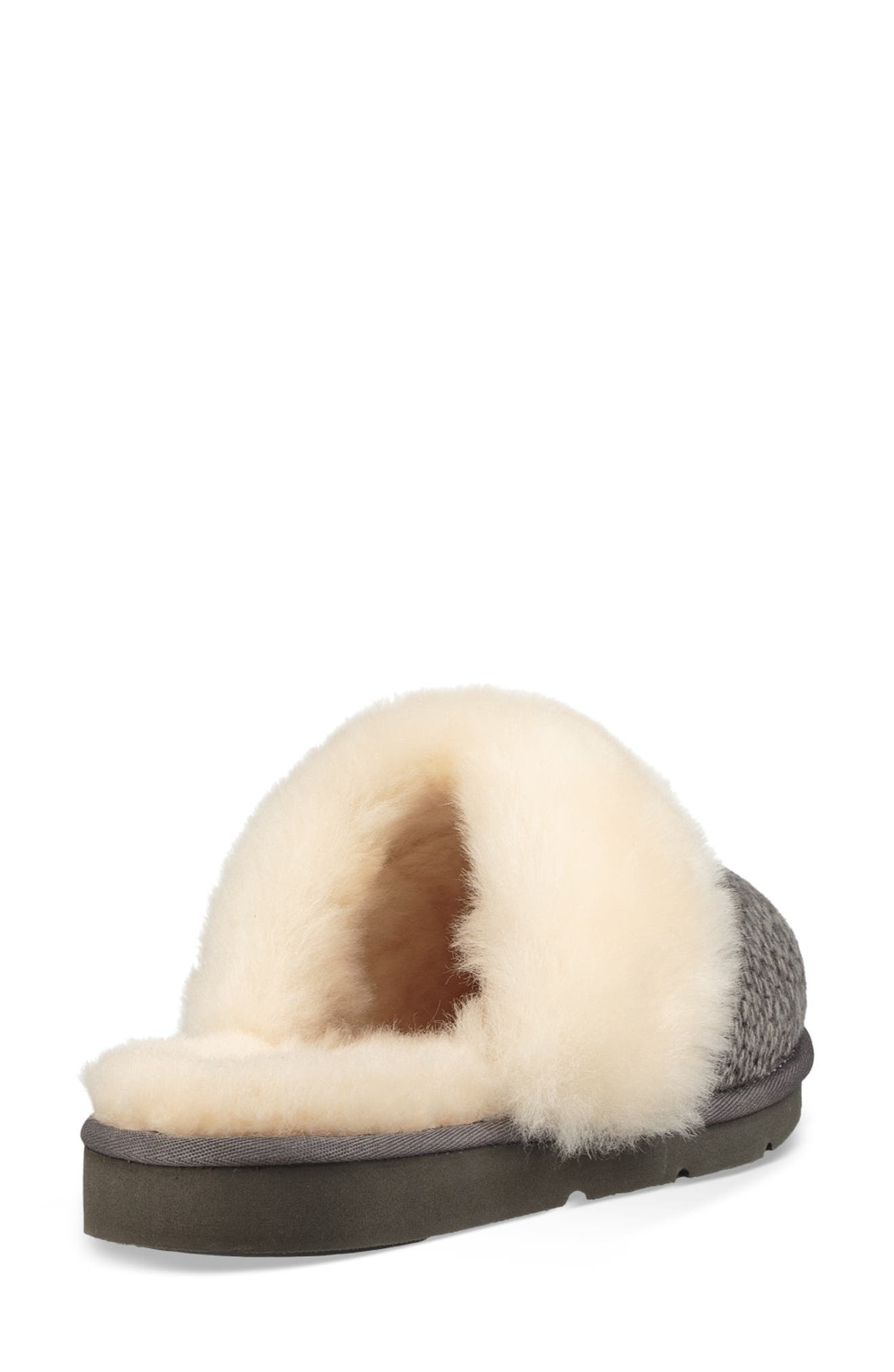 Cozy Knit Genuine Shearling Slipper,                             Alternate thumbnail 2, color,                             CHARCOAL