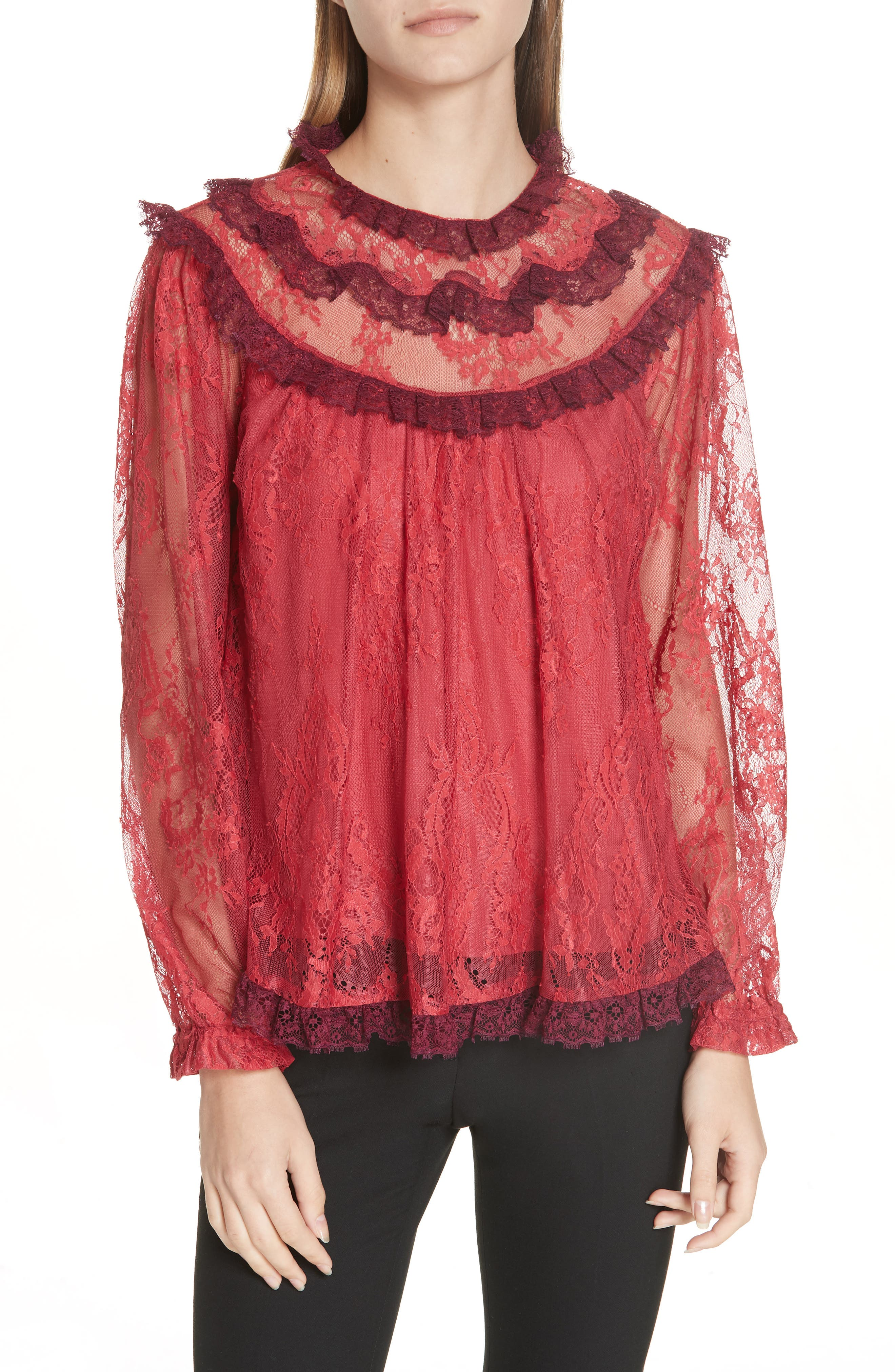 Scallop Frill Lace Top,                             Main thumbnail 1, color,                             DARK CHERRY