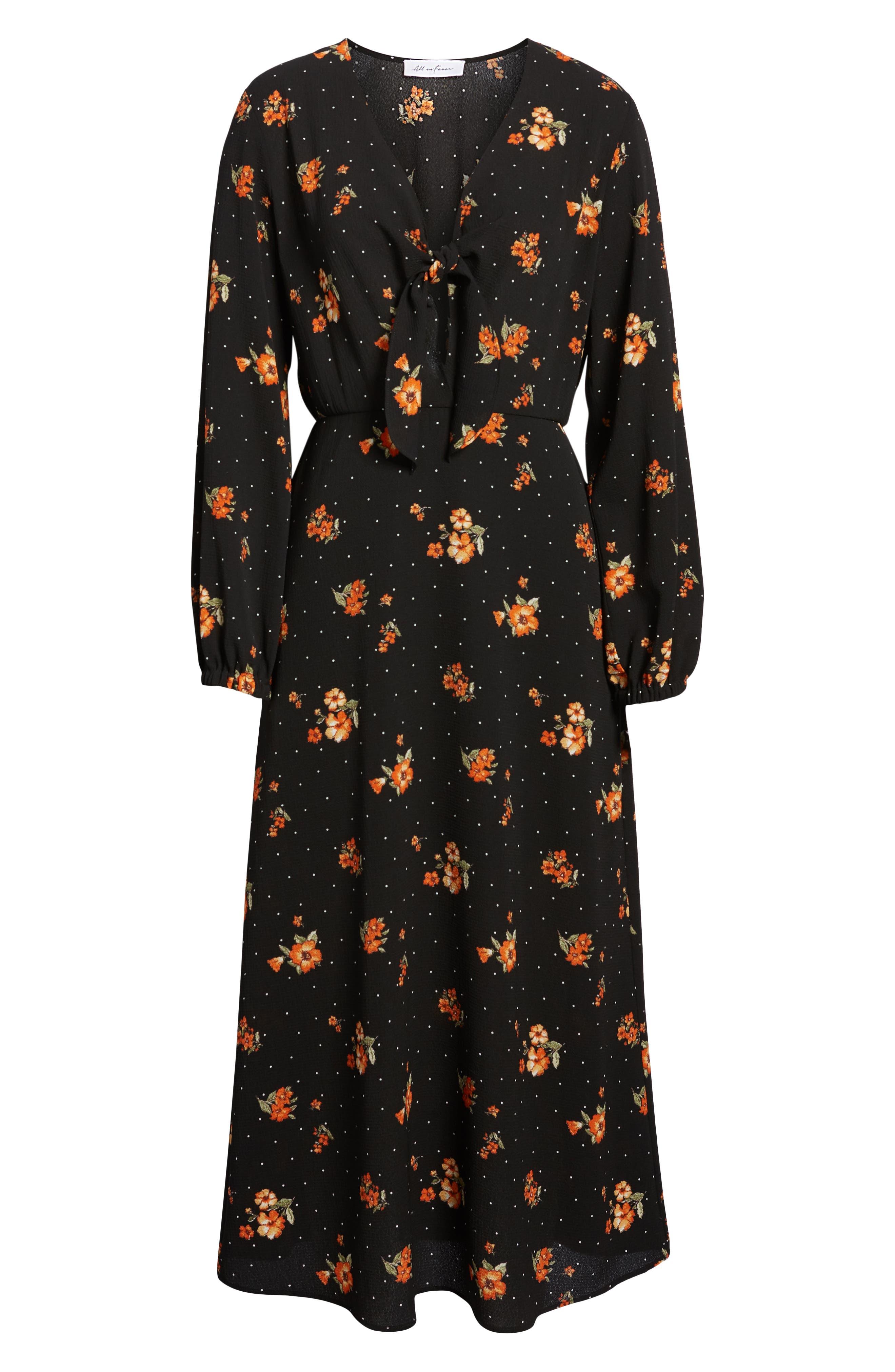 ALL IN FAVOR,                             Tie Detail Midi Dress,                             Alternate thumbnail 7, color,                             001