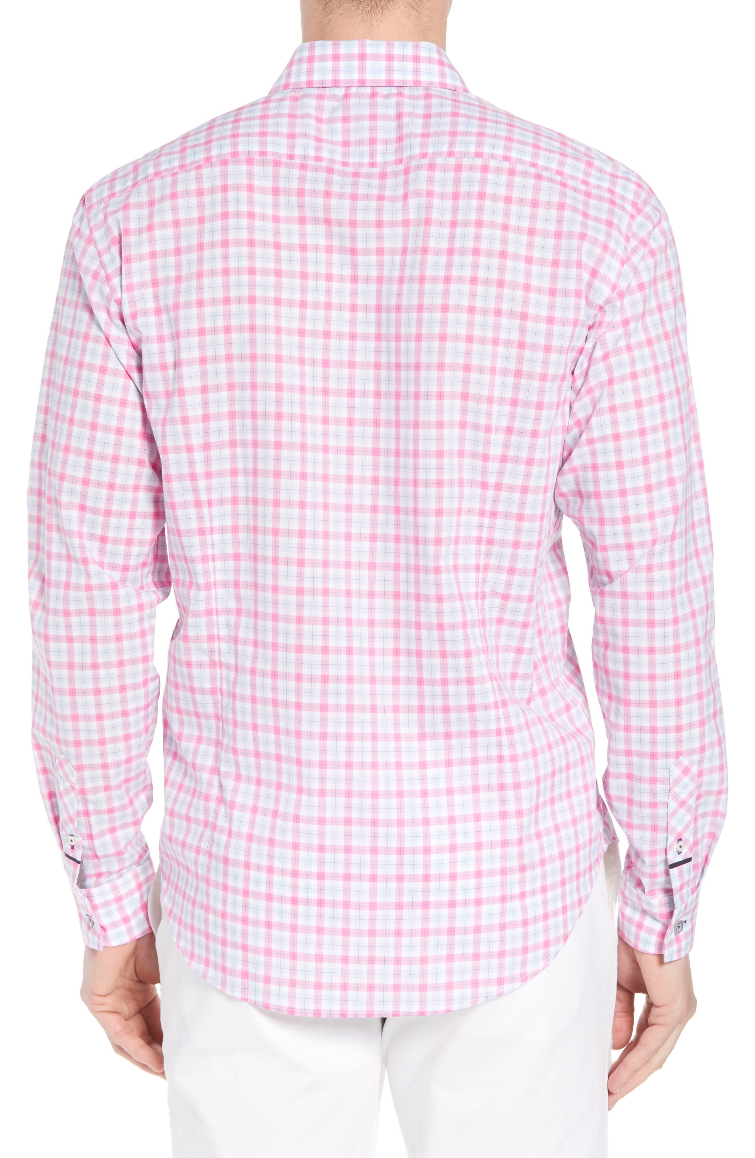 Slim Fit Grid Sport Shirt,                             Alternate thumbnail 2, color,                             MEDIUM PINK