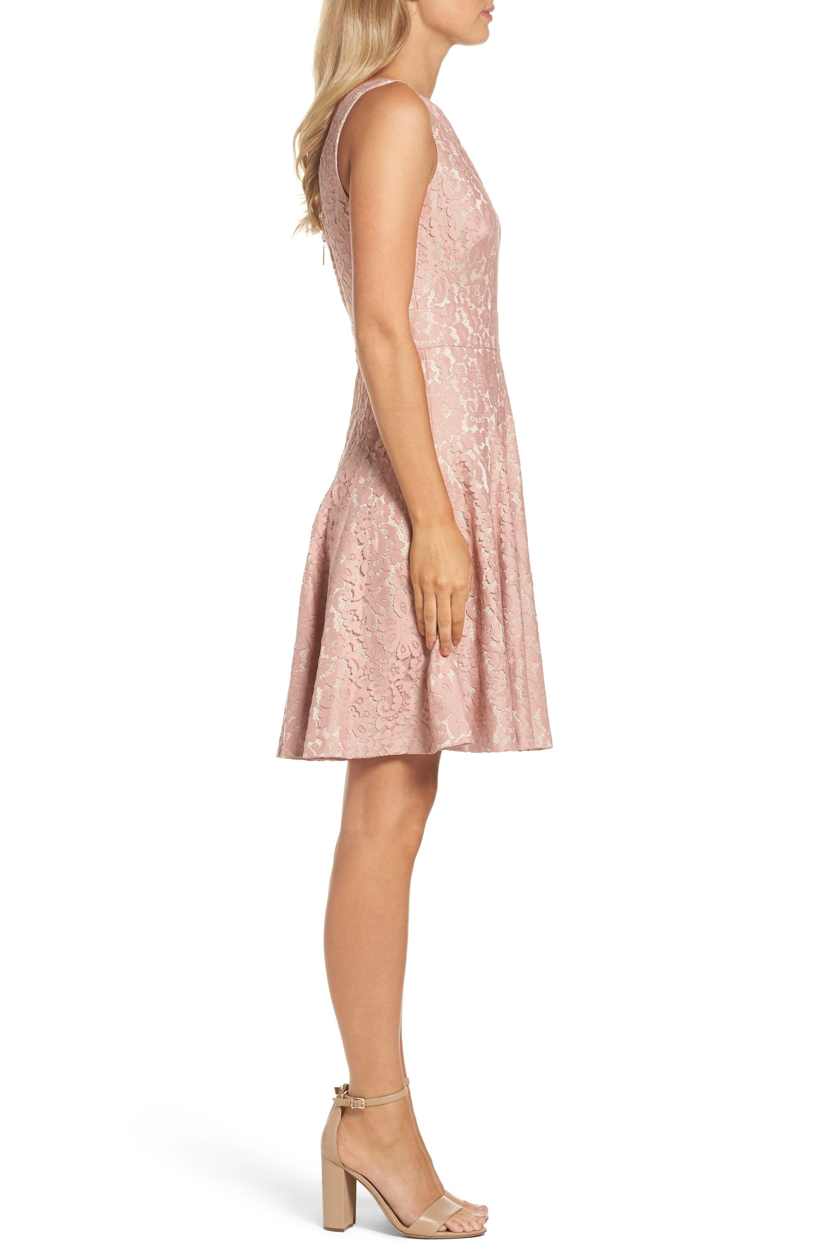 Lace Fit & Flare Dress,                             Alternate thumbnail 3, color,                             660