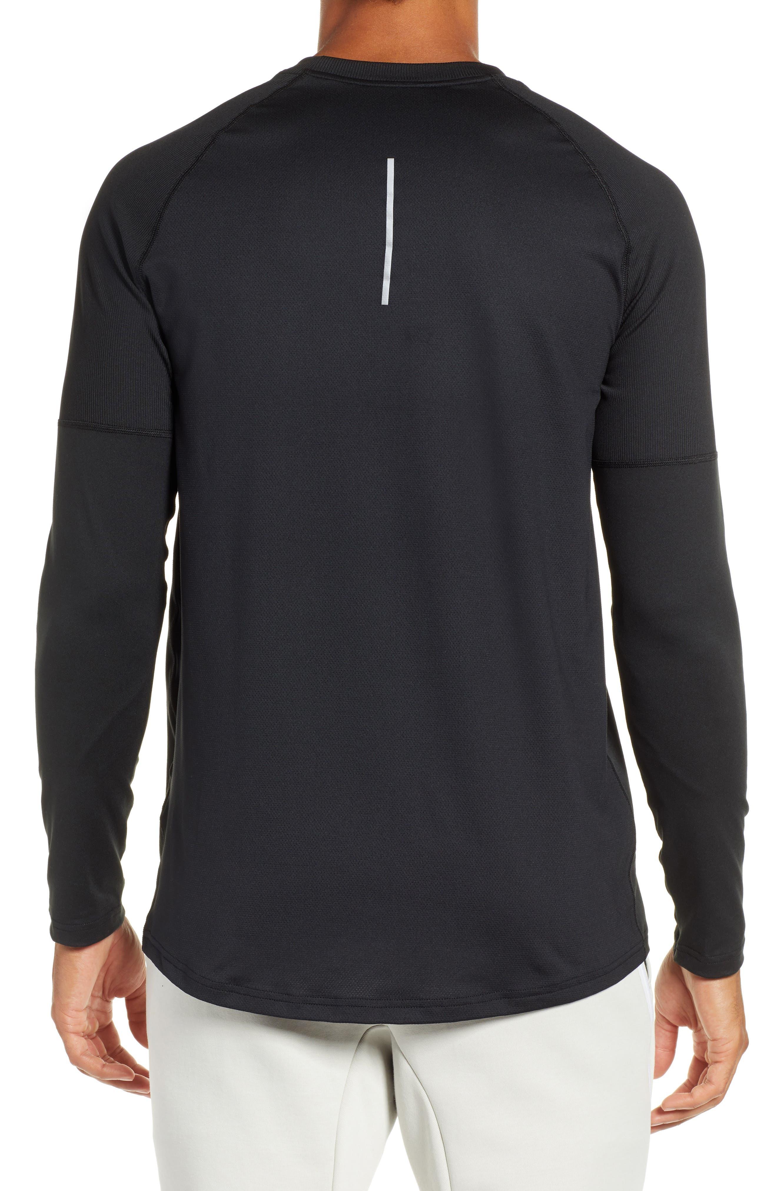 NIKE,                             Element Dry Crewneck Running T-Shirt,                             Alternate thumbnail 2, color,                             BLACK
