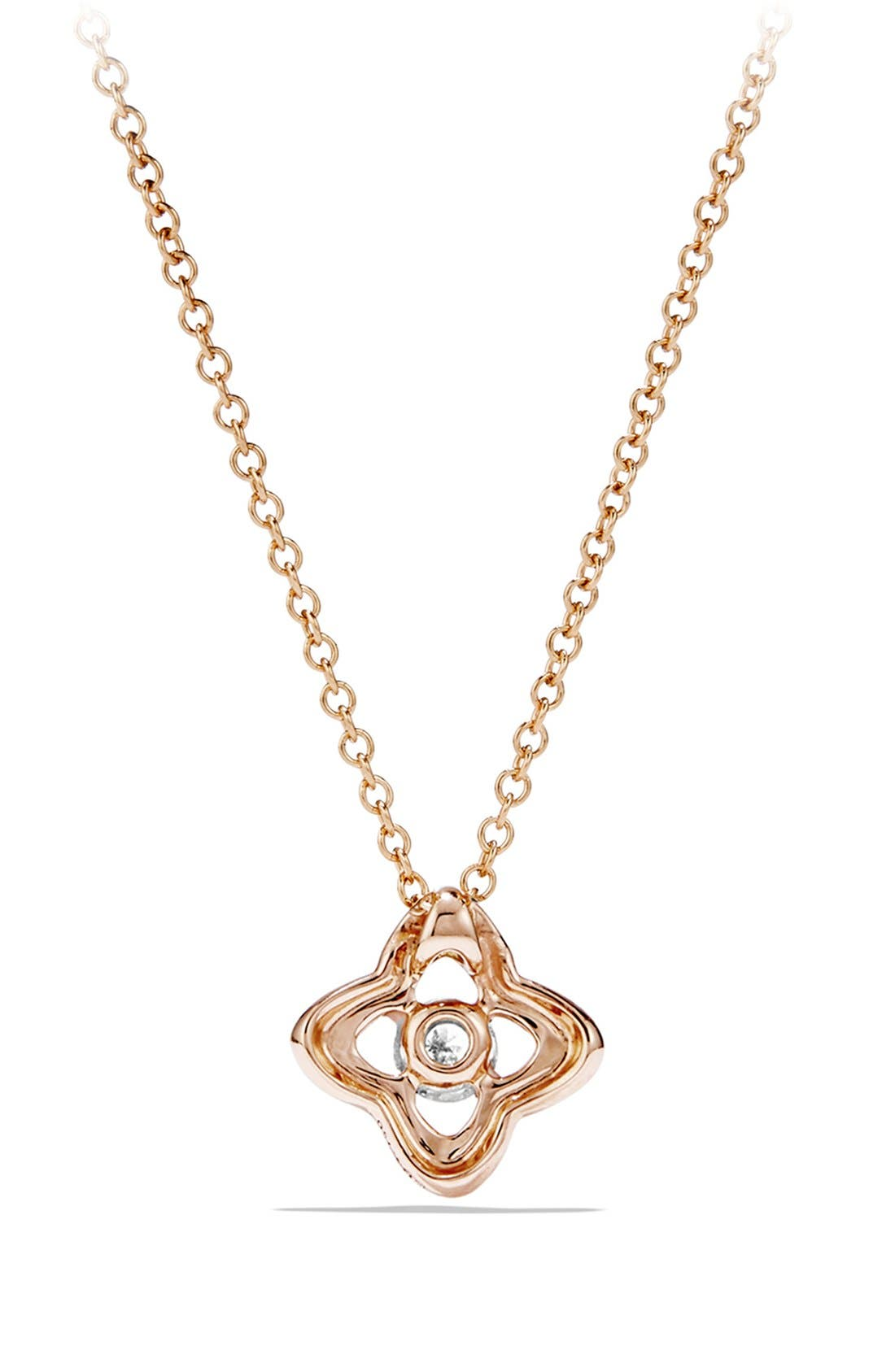 'Venetian Quatrefoil' Necklace with Diamonds in Gold,                             Alternate thumbnail 3, color,                             ROSE GOLD