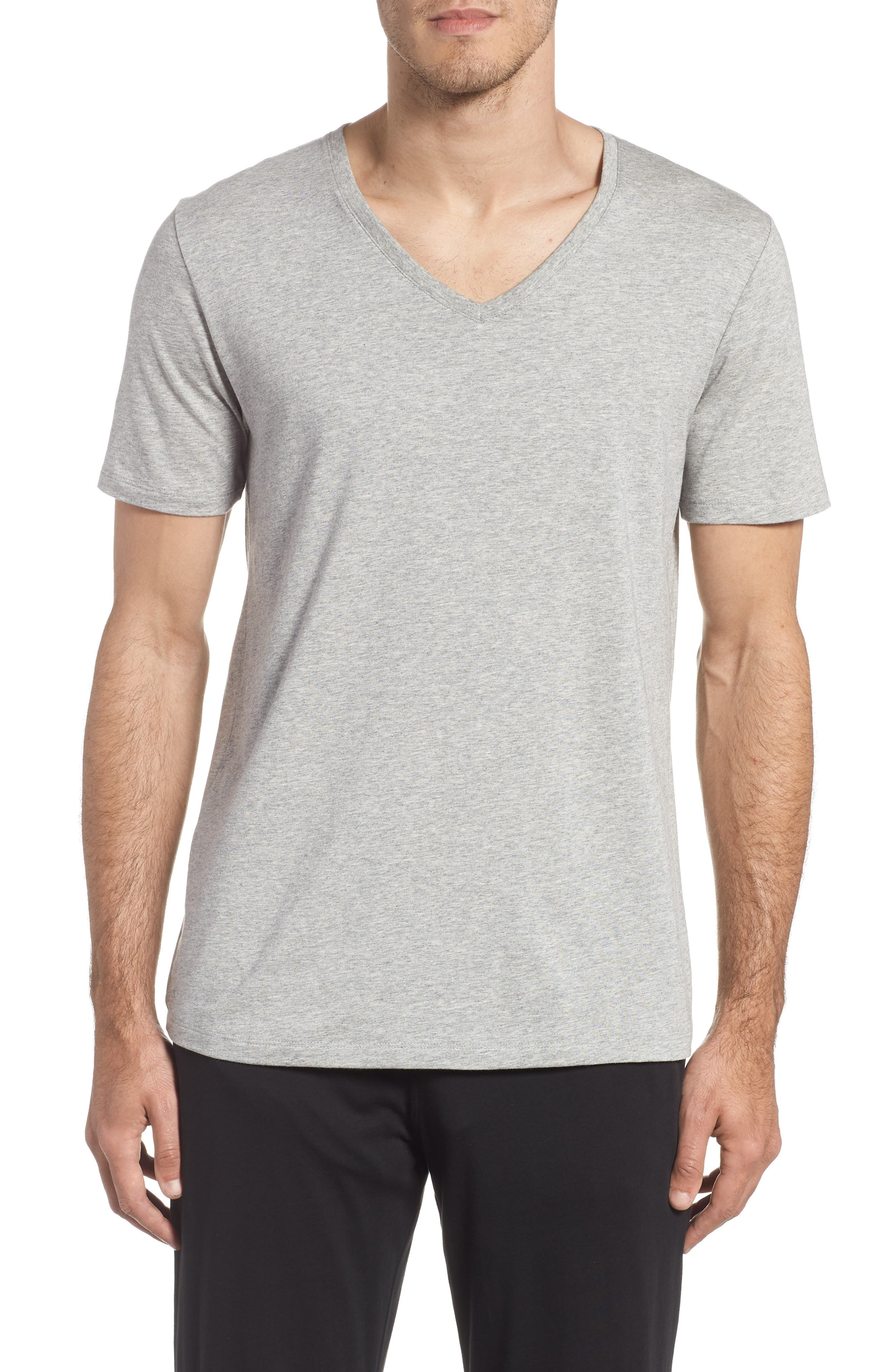 Second Skin V-Neck T-Shirt,                             Main thumbnail 1, color,                             HEATHER GREY