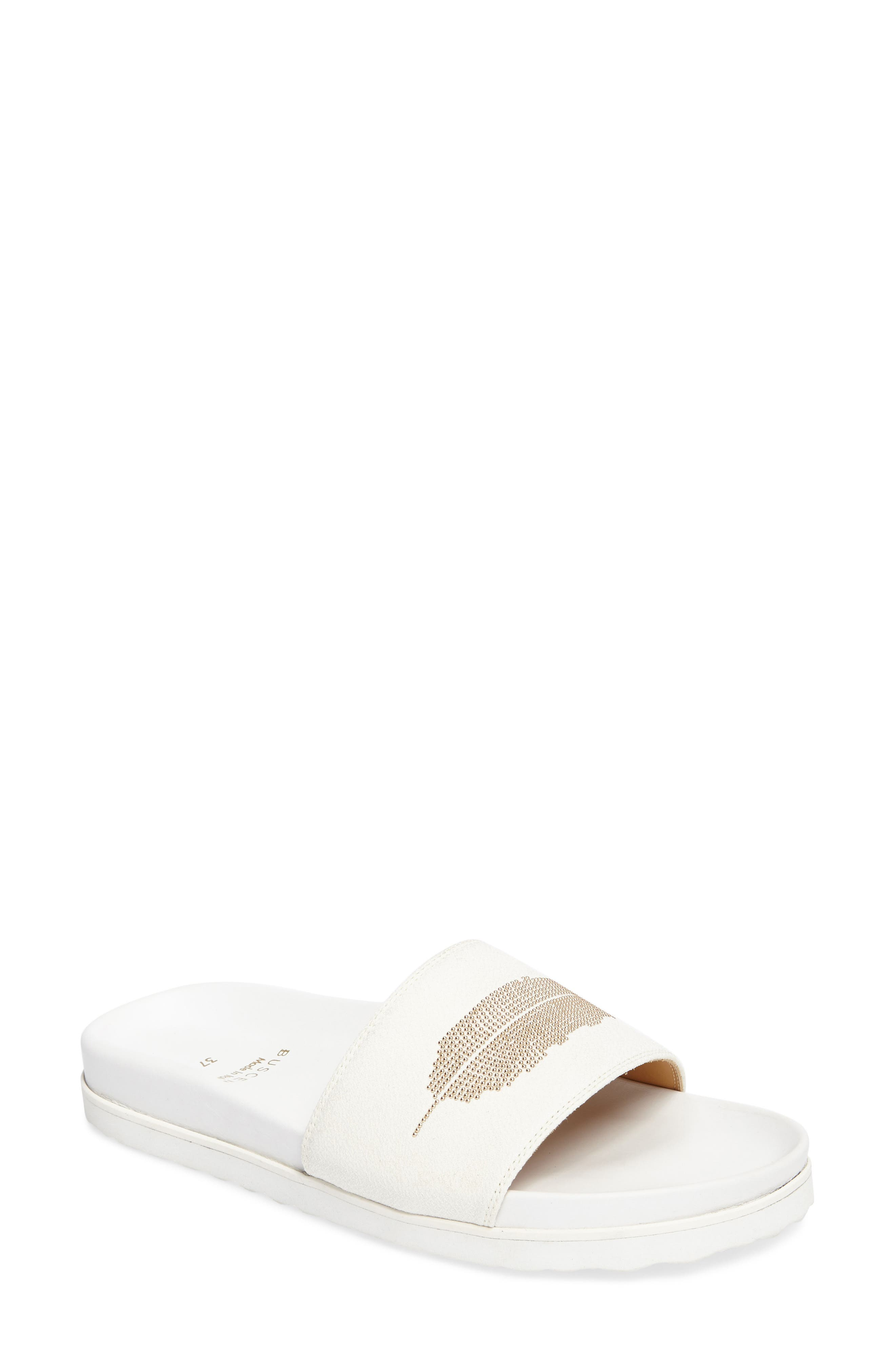 Crepone Feather Slide Sandal,                             Main thumbnail 1, color,                             100
